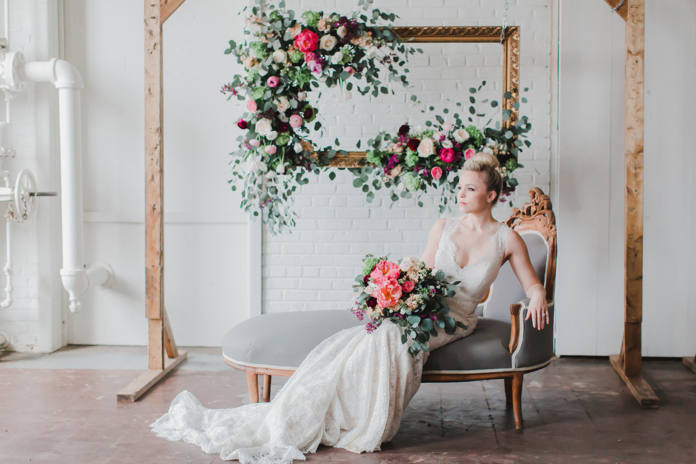 photo booth with wooden frame