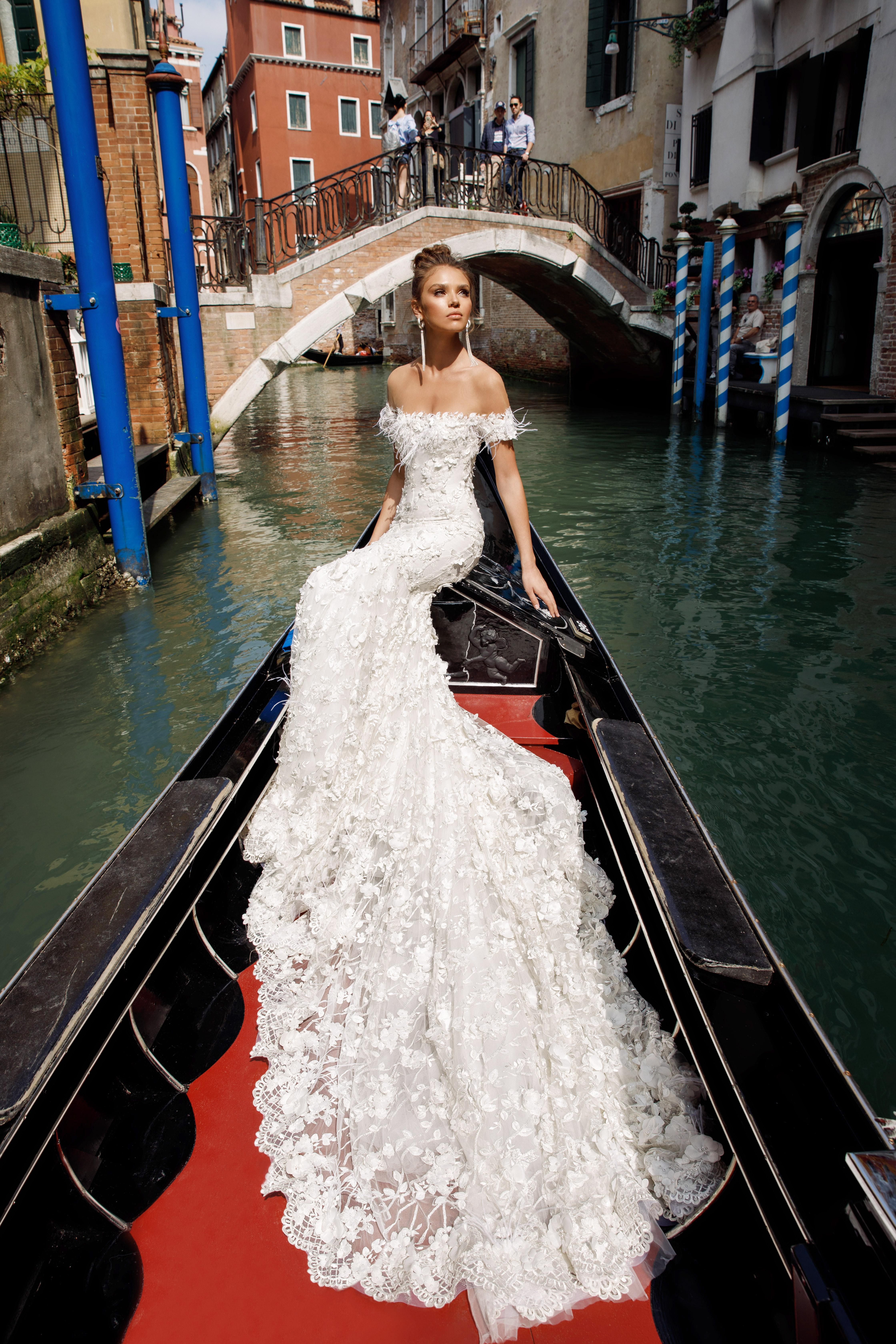 off-the shoulder lace julie vino wedding dress spring2018