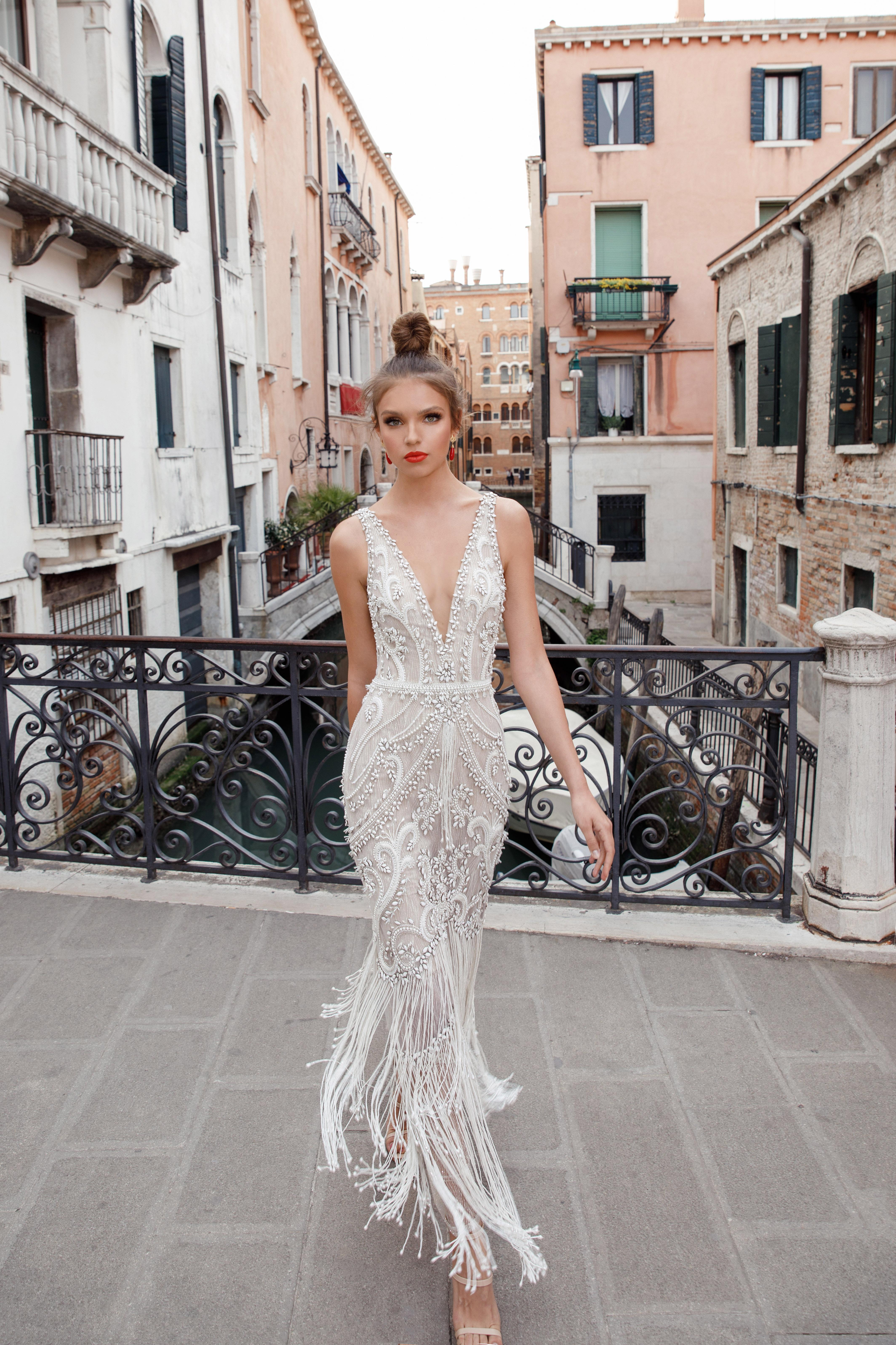 v-neck with fringe julie vino wedding dress spring2018