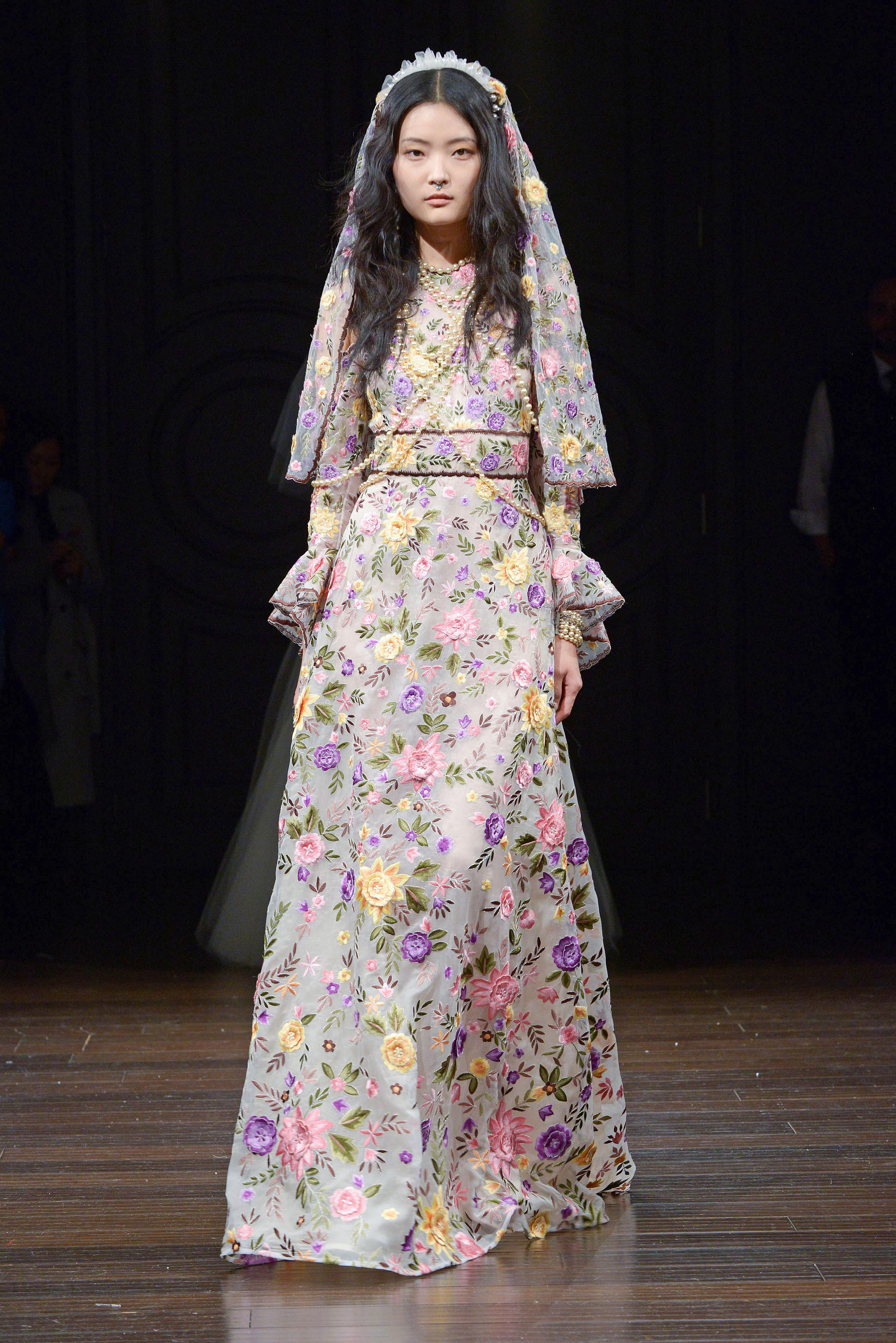 naeem khan gray floral wedding dress spring 2018