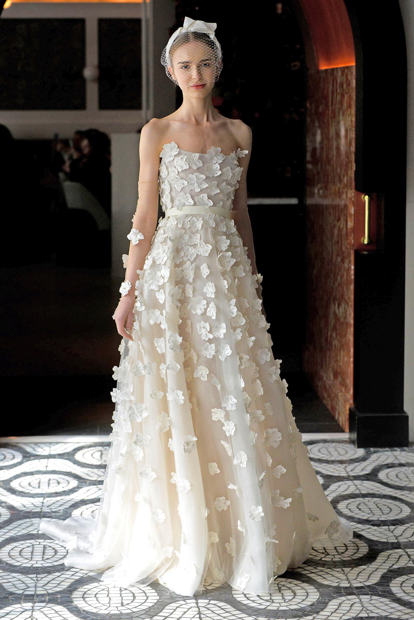 lela rose wedding dress spring 2018 layered strapless embellished