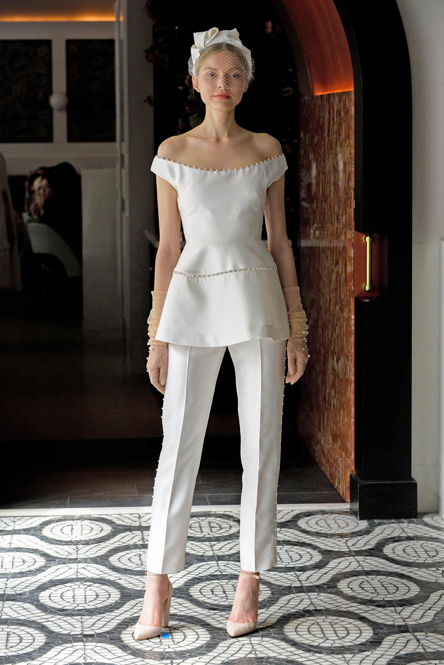 lela rose wedding dress spring 2018 off-the-shoulder pants