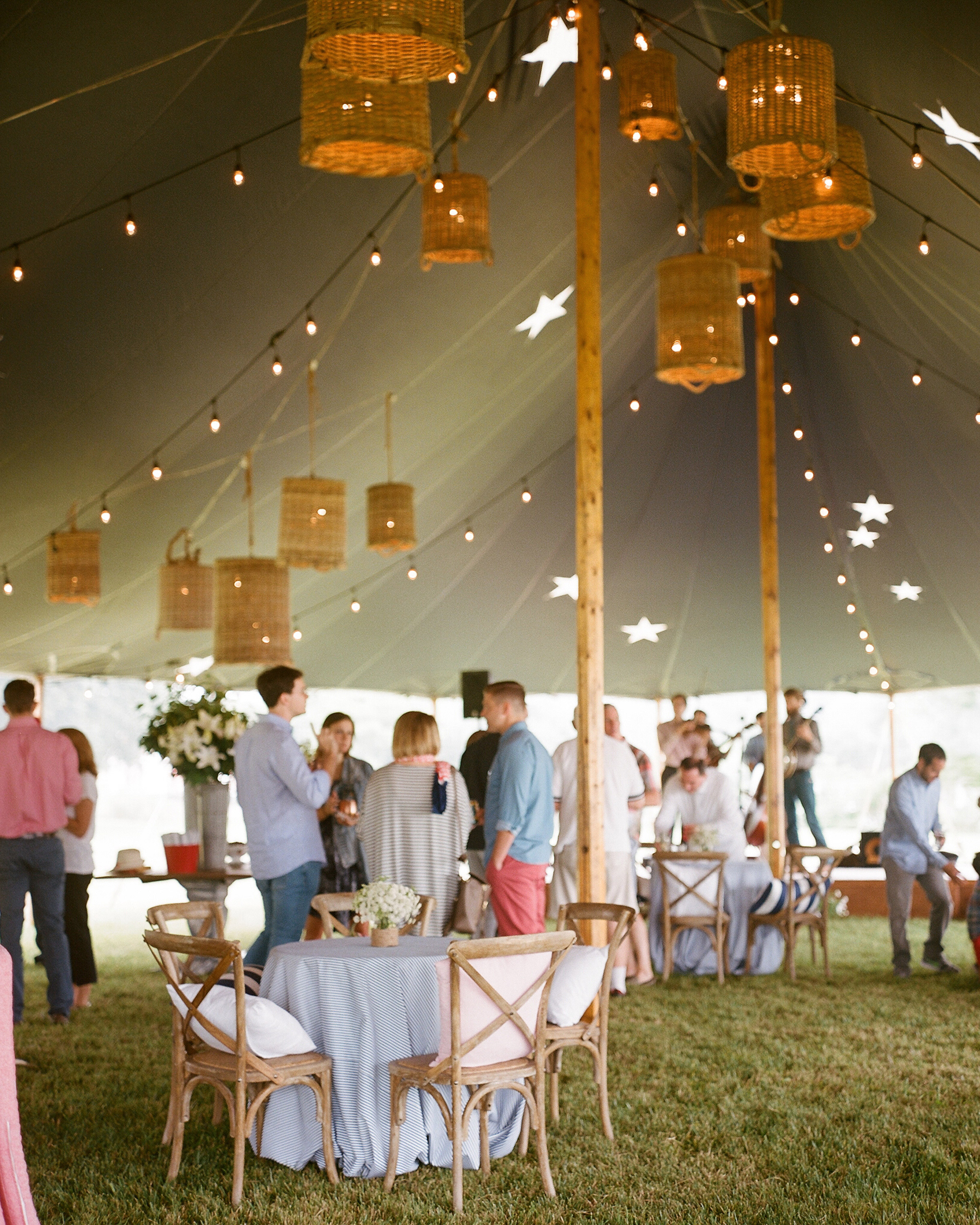 patriotic party tent guests mingle