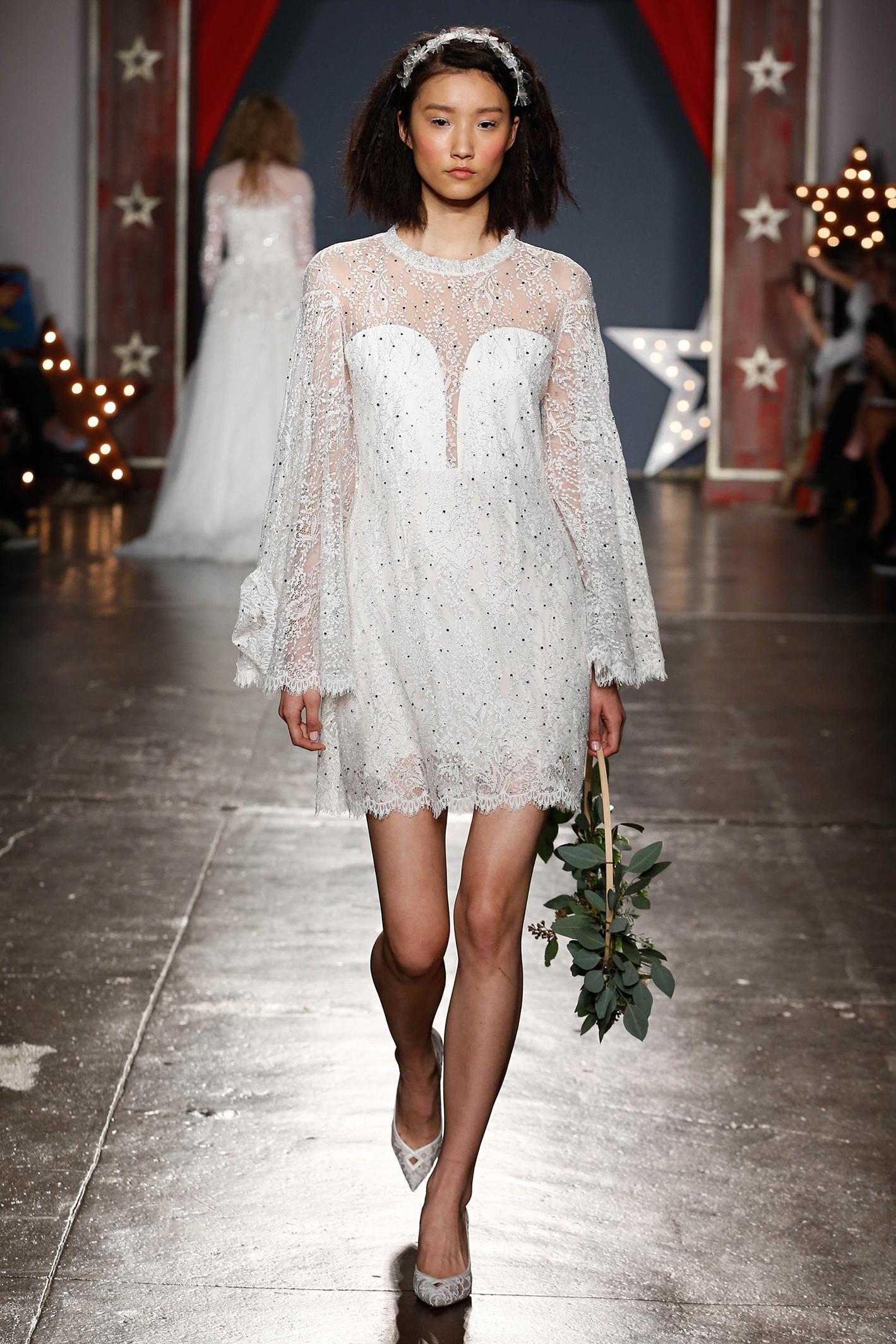 jenny packham wedding dress spring 2018 short embellished long sleeves