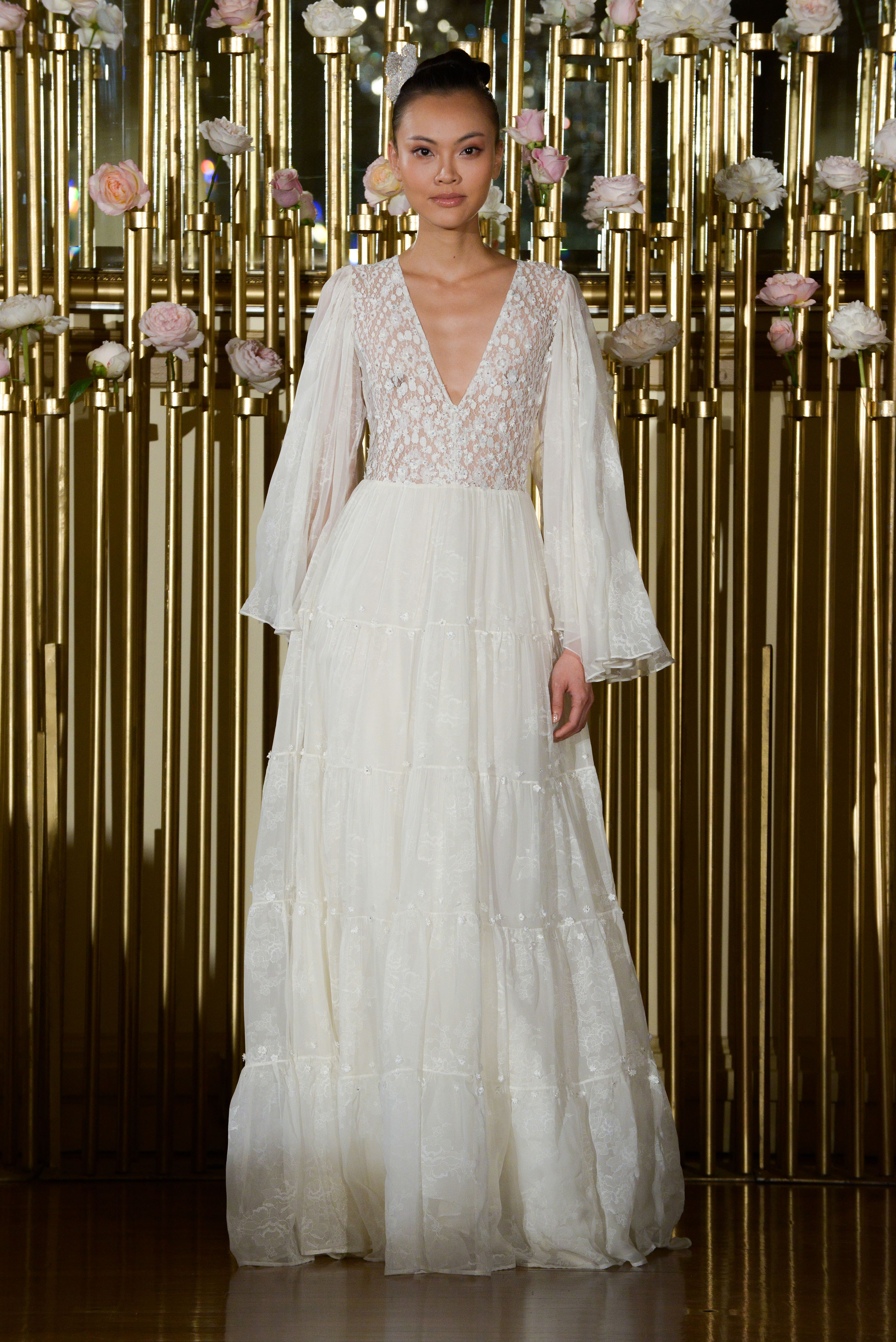 Francesca Miranda Long Sleeve Wedding Dress with V-Neck Spring 2018