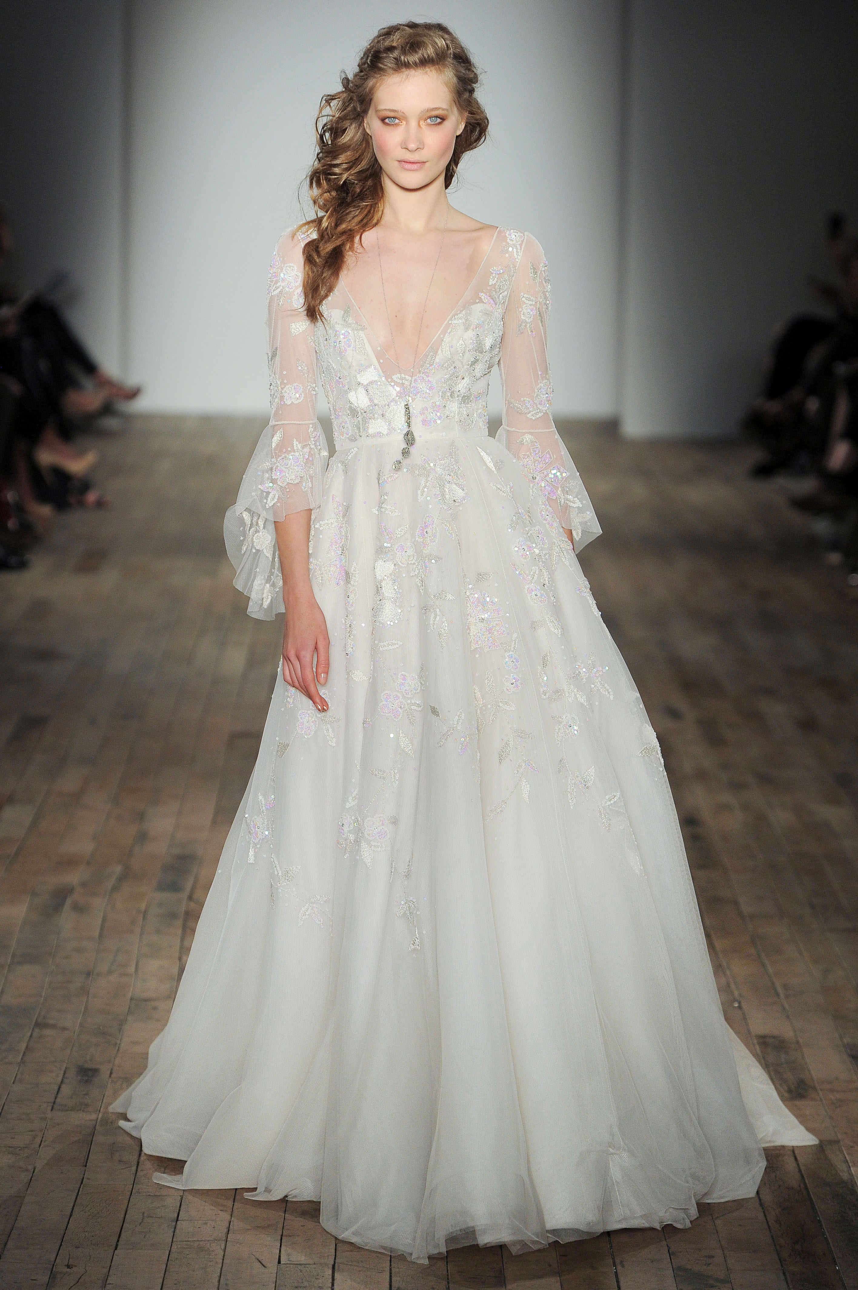 bell sleeve v-neck Hayley Paige Spring 2018 Wedding Dress Collection