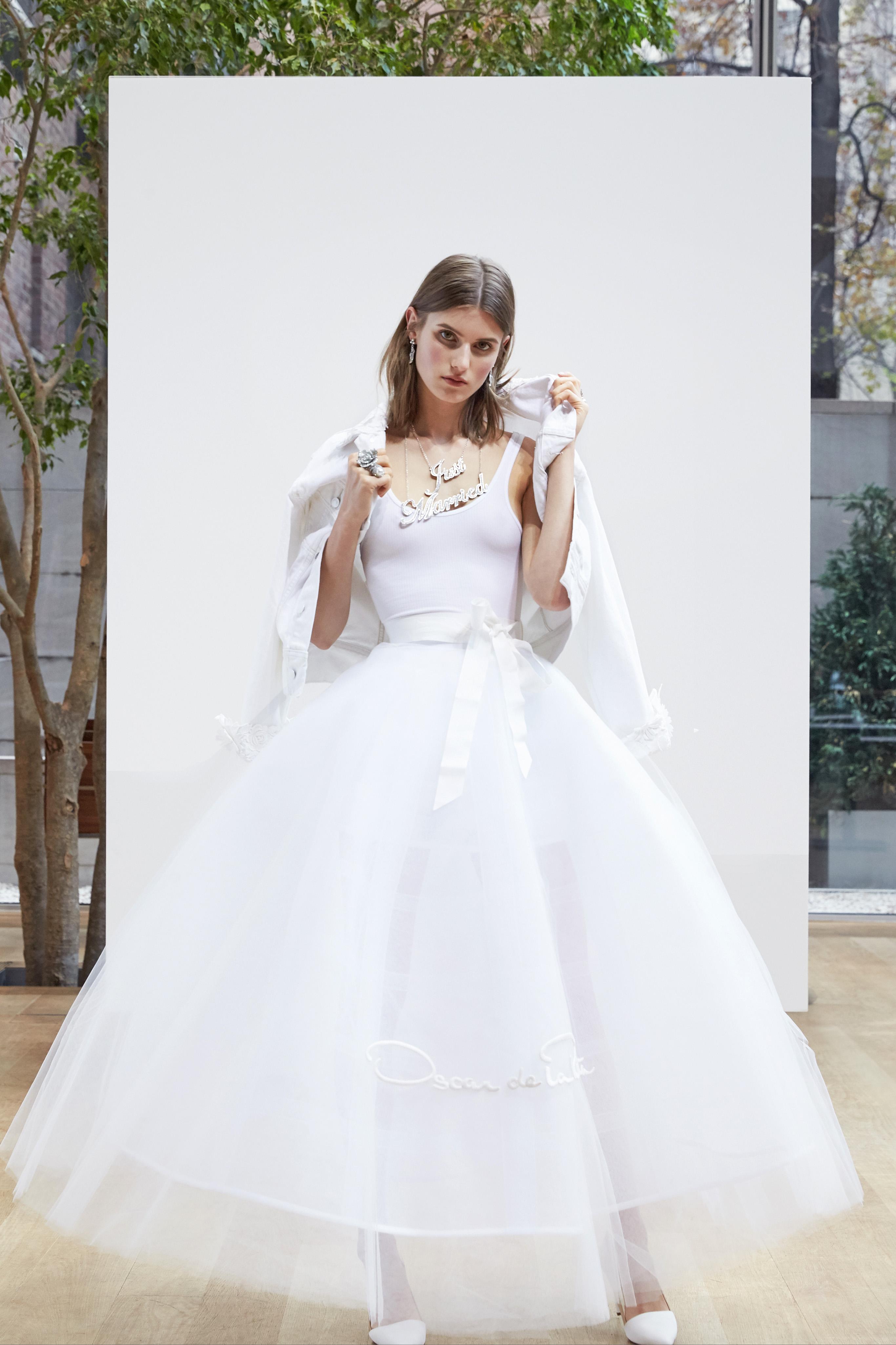 tea length a-line Oscar de la Renta Spring 2018 Wedding Dress Collection