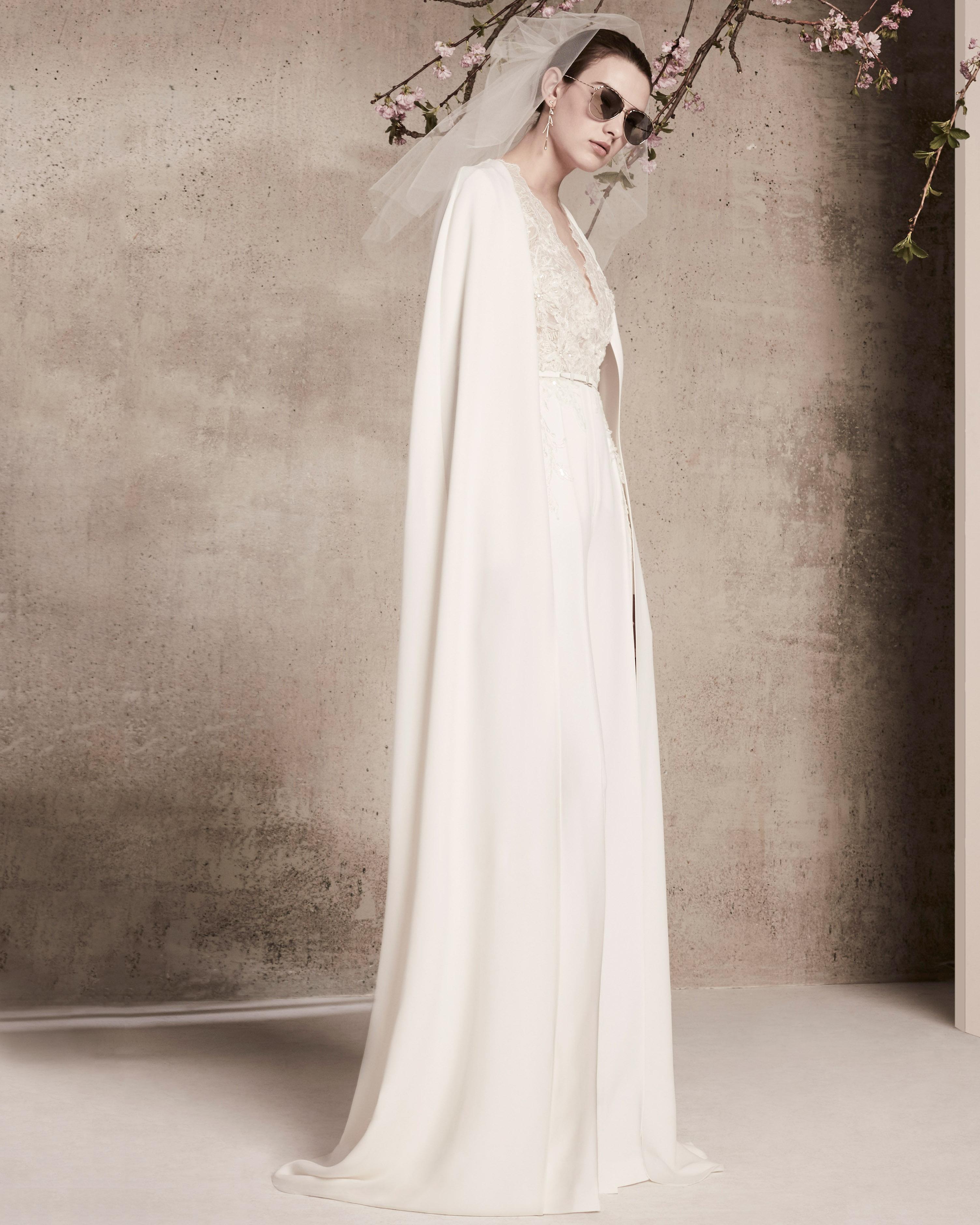 sheath with cape elie saab wedding dress spring 2018