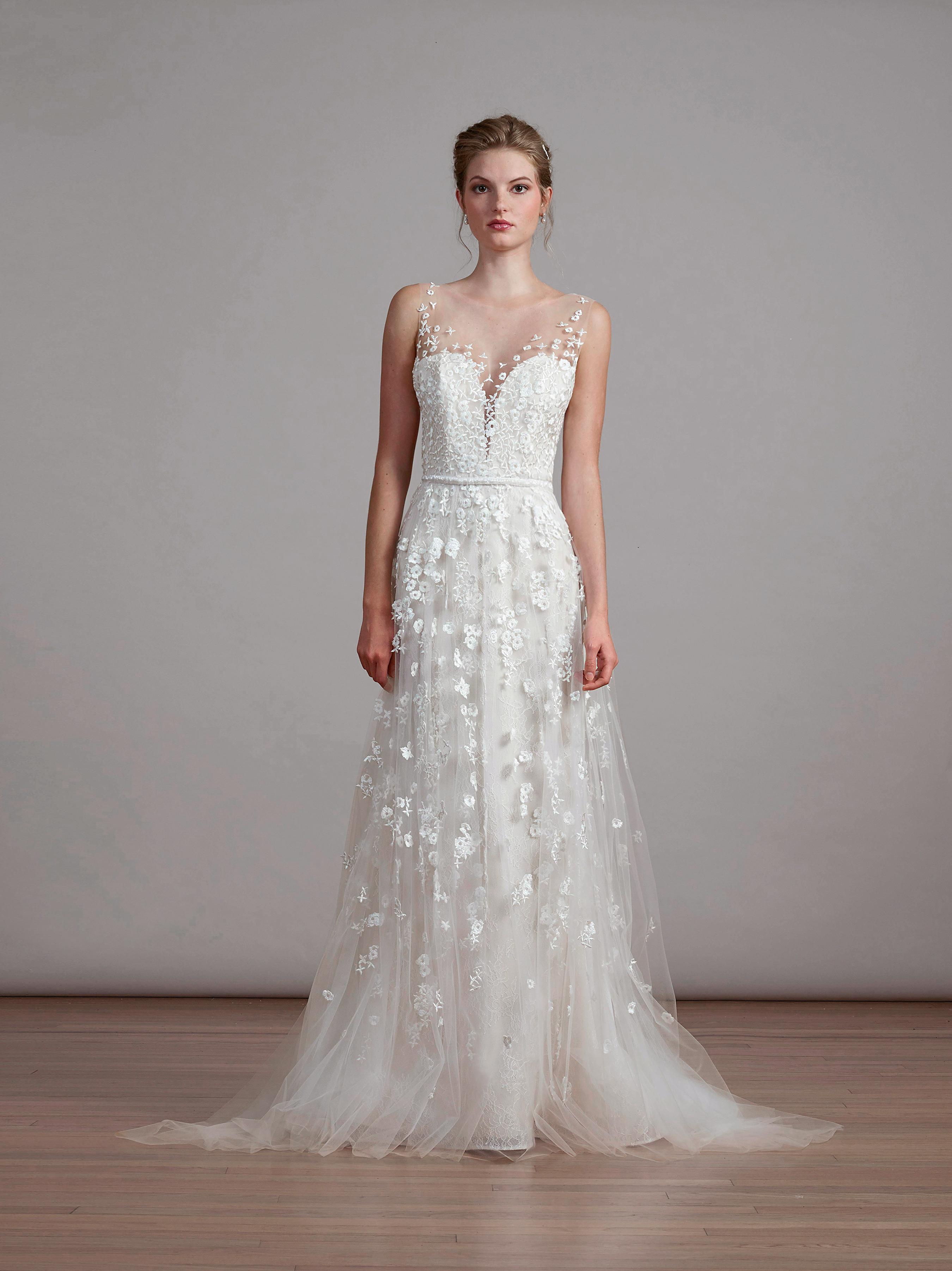 liancarlo lace wedding dress with illusion neckline
