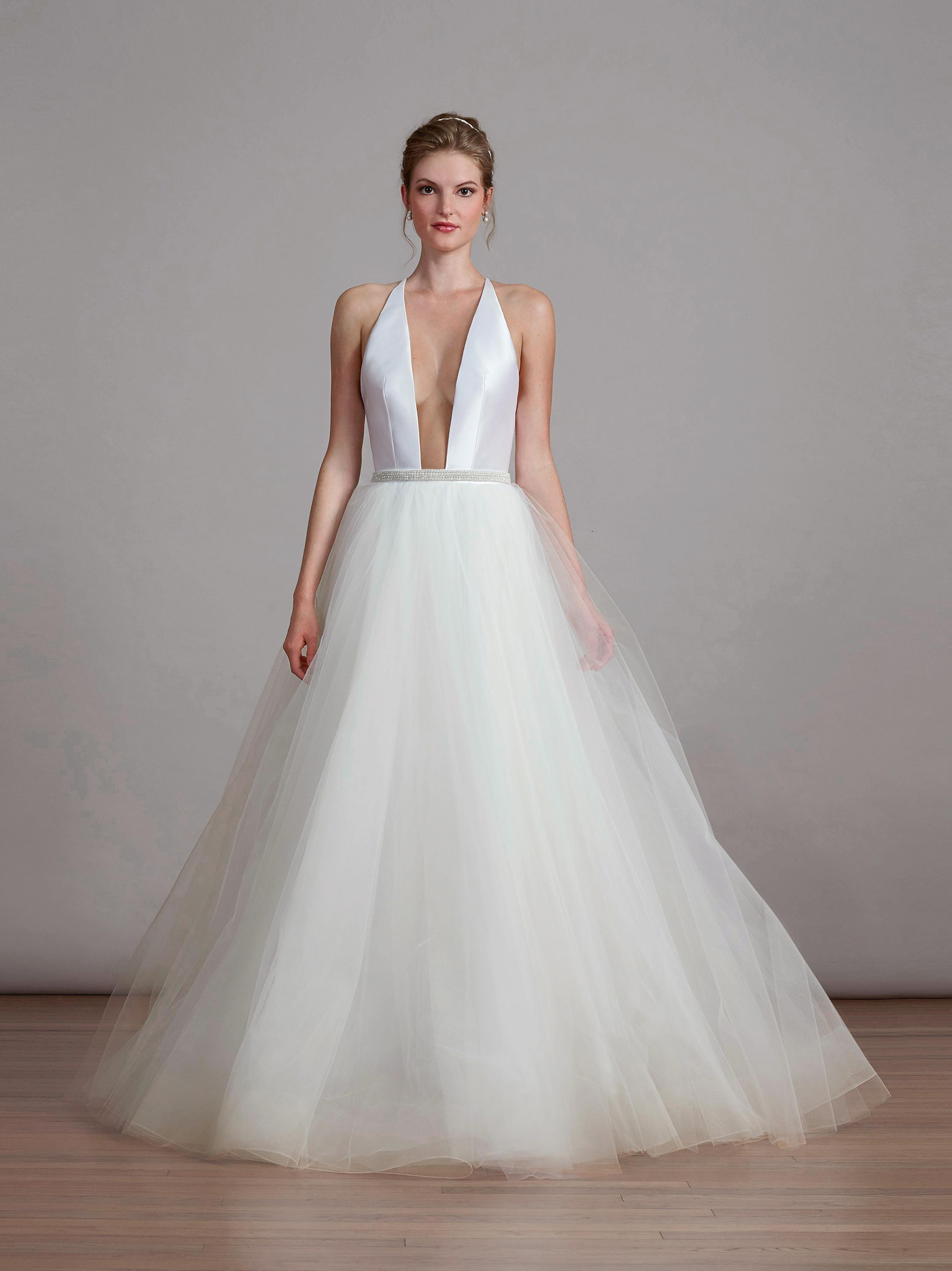 liancarlo halter wedding dress with tulle