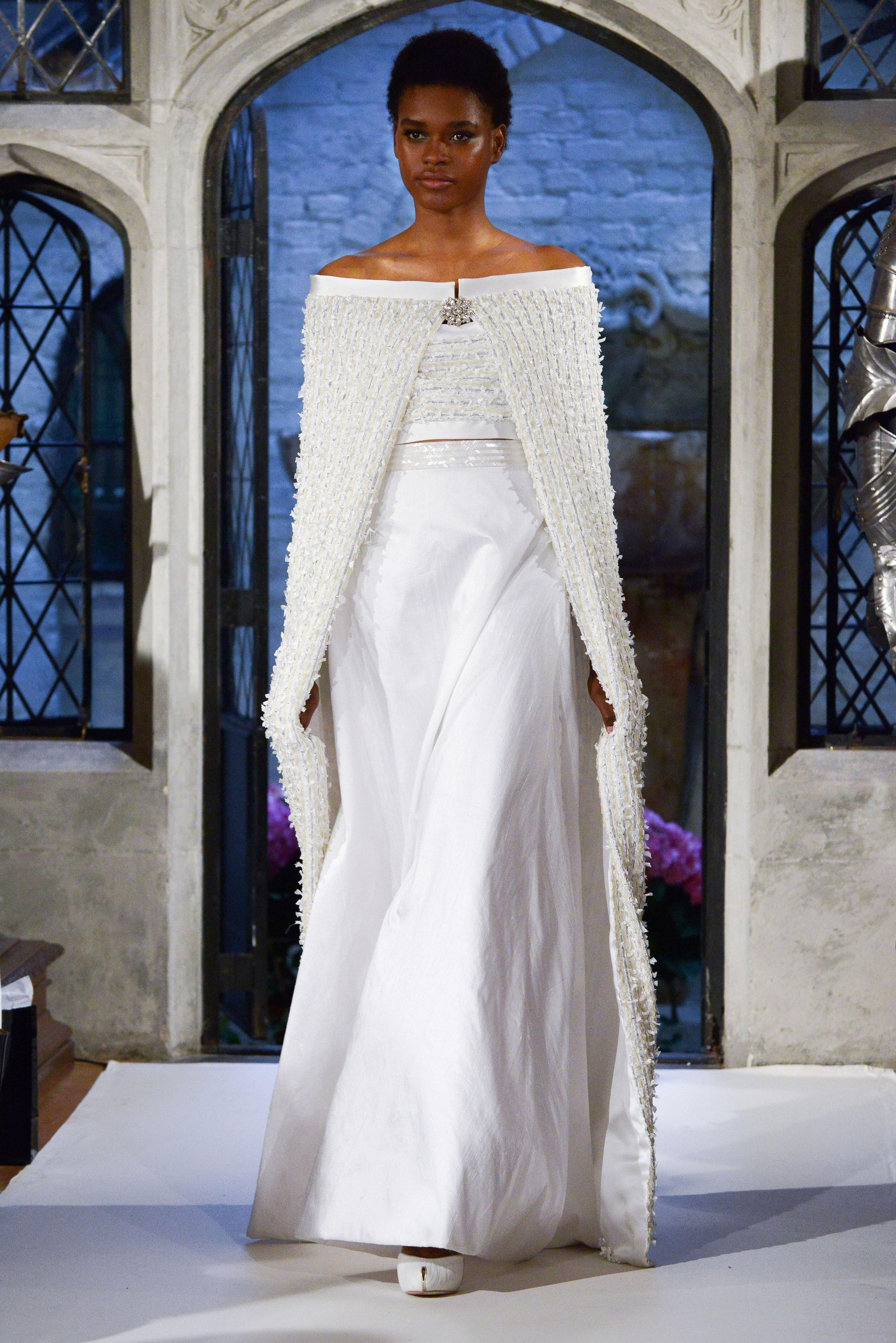 oleg cassini cape wedding dress spring 2018