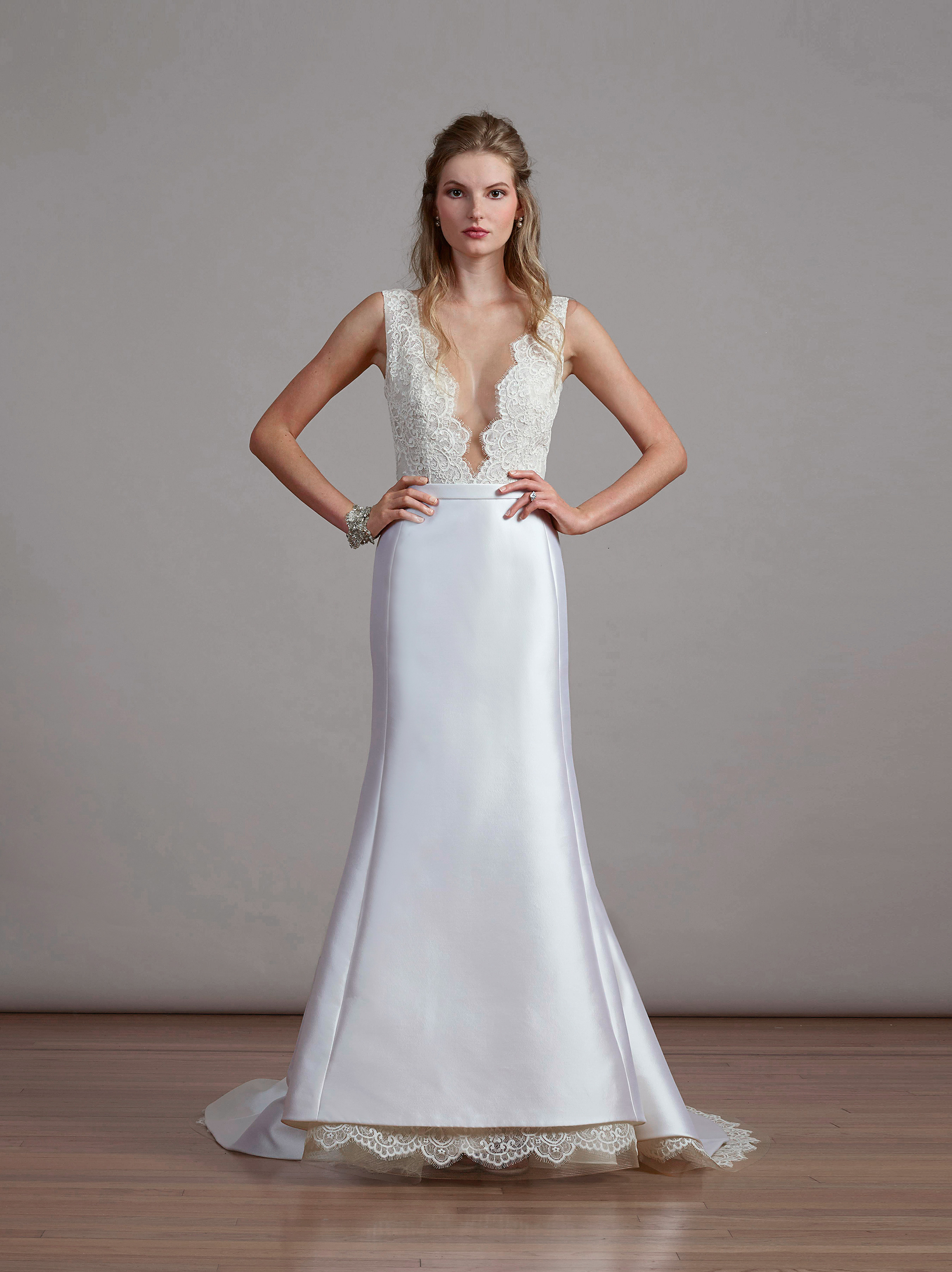 liancarlo v-neck lace wedding dress