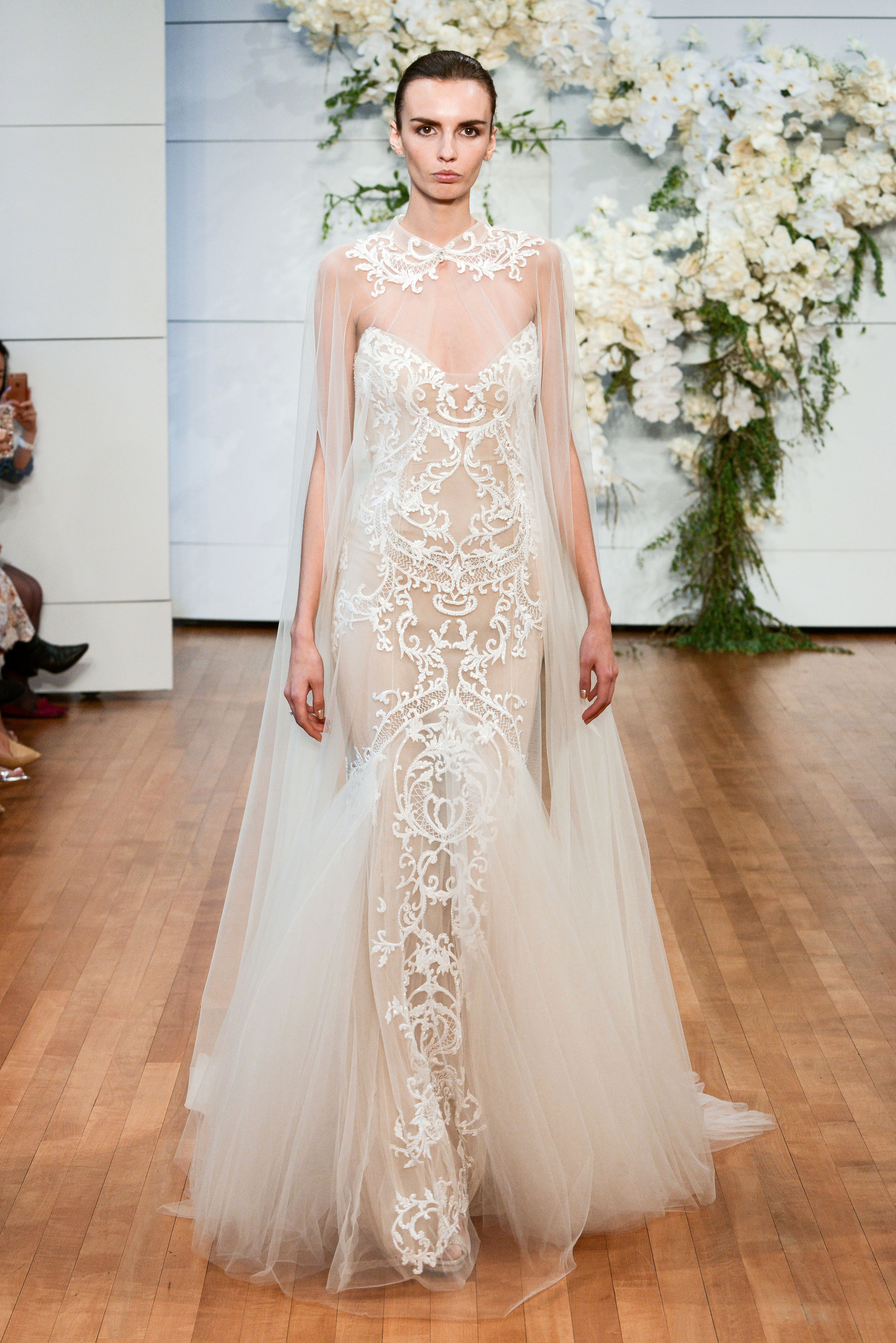 monique lhuillier tulle sheer wedding dress spring 2018