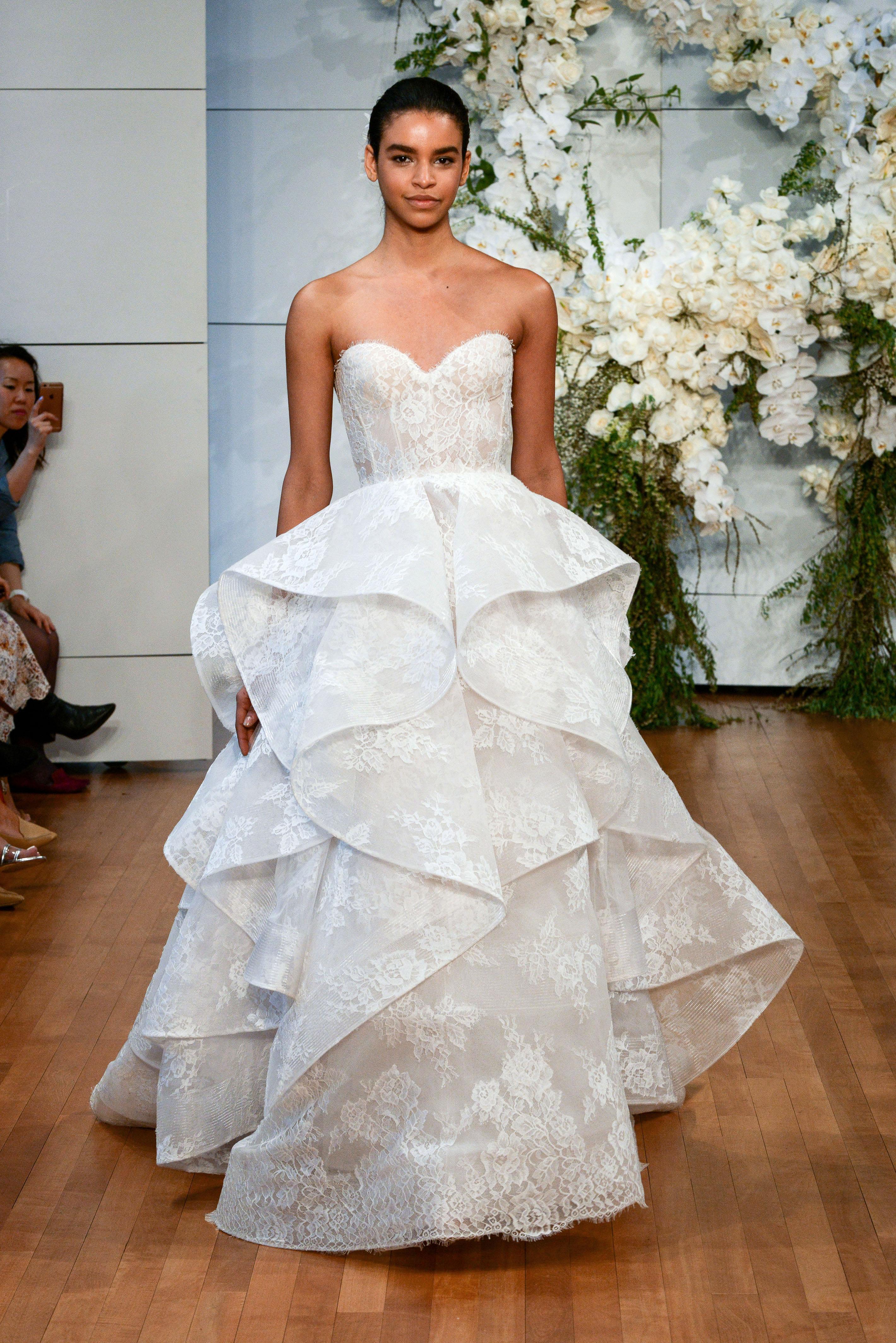 monique lhuillier lace ruffled wedding dress spring 2018