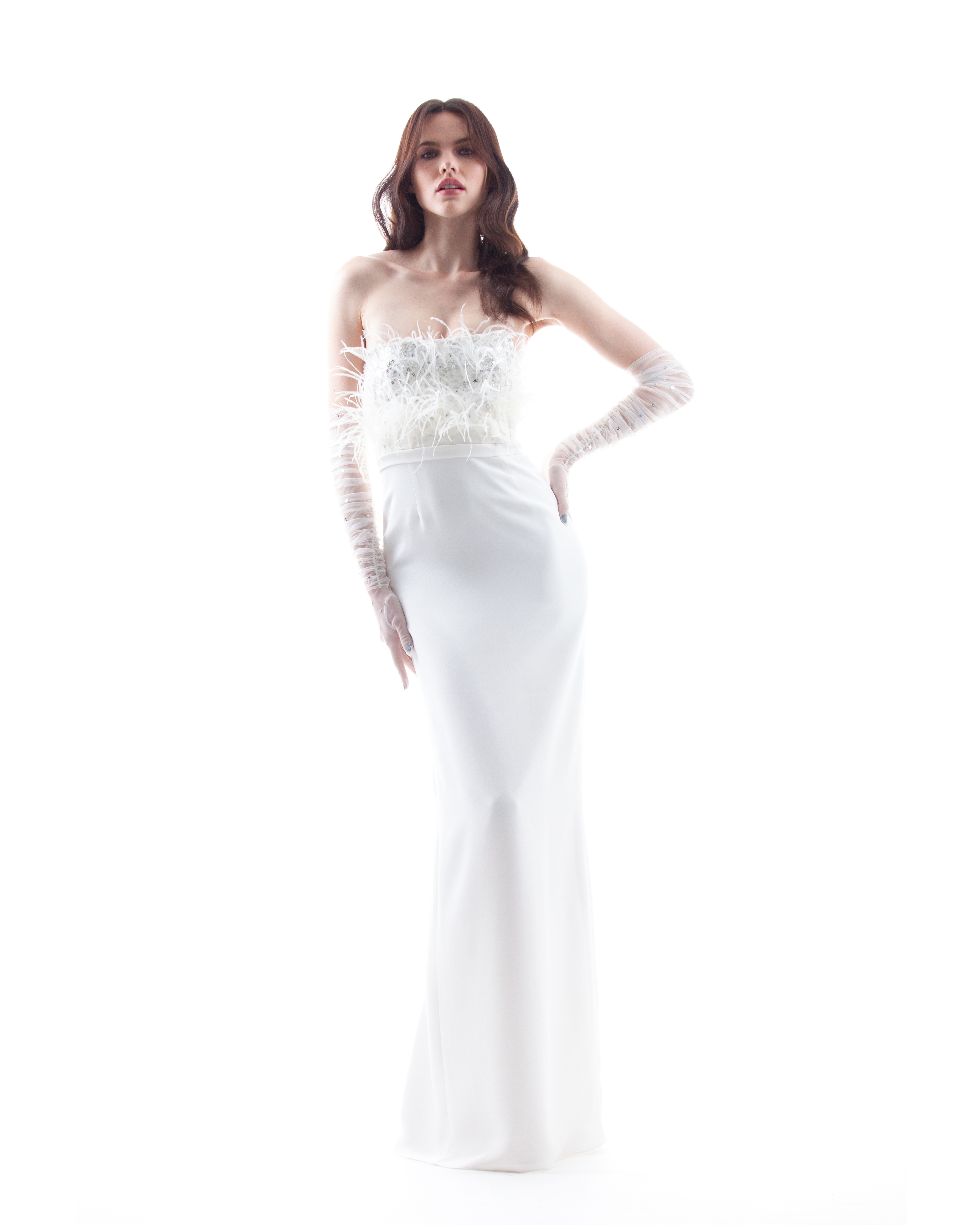 strapless houghton wedding dress spring 2018 with feathered bodice