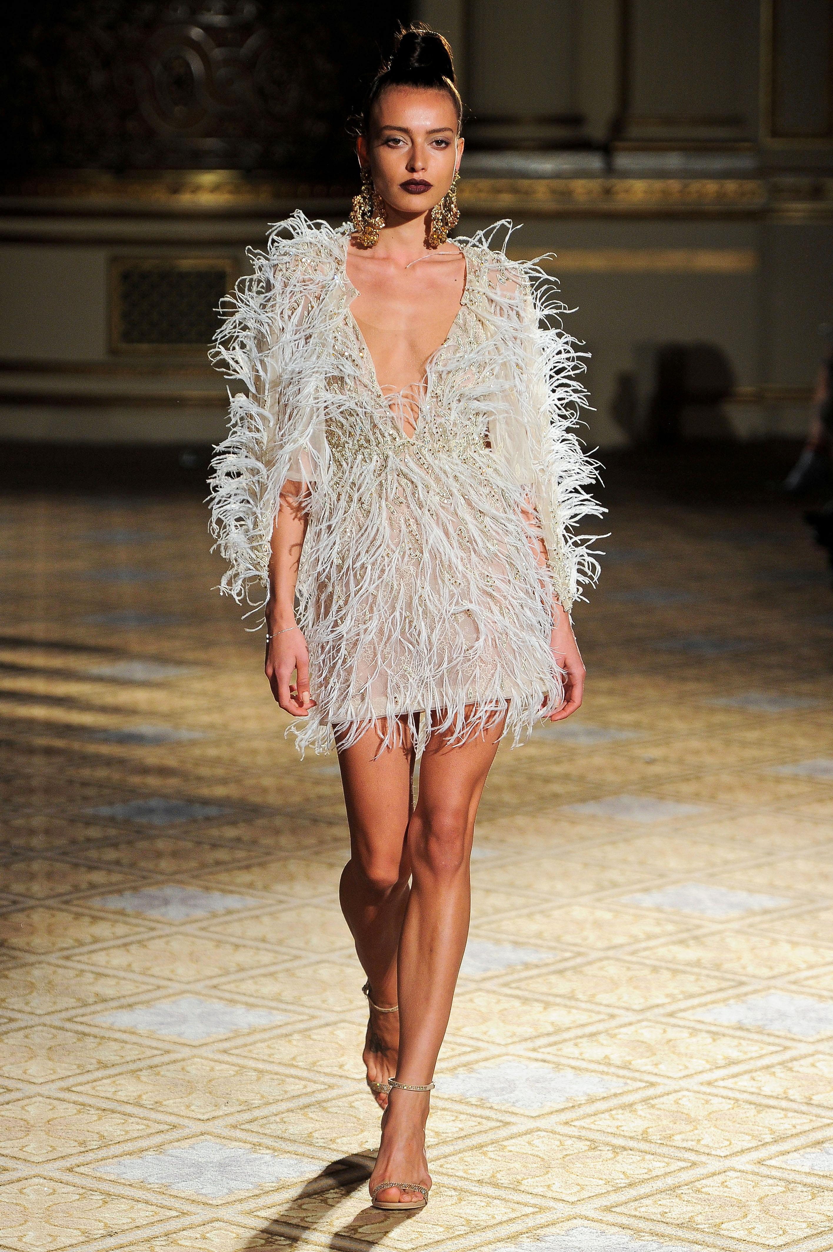 berta short feather v-neck wedding dress spring 2018
