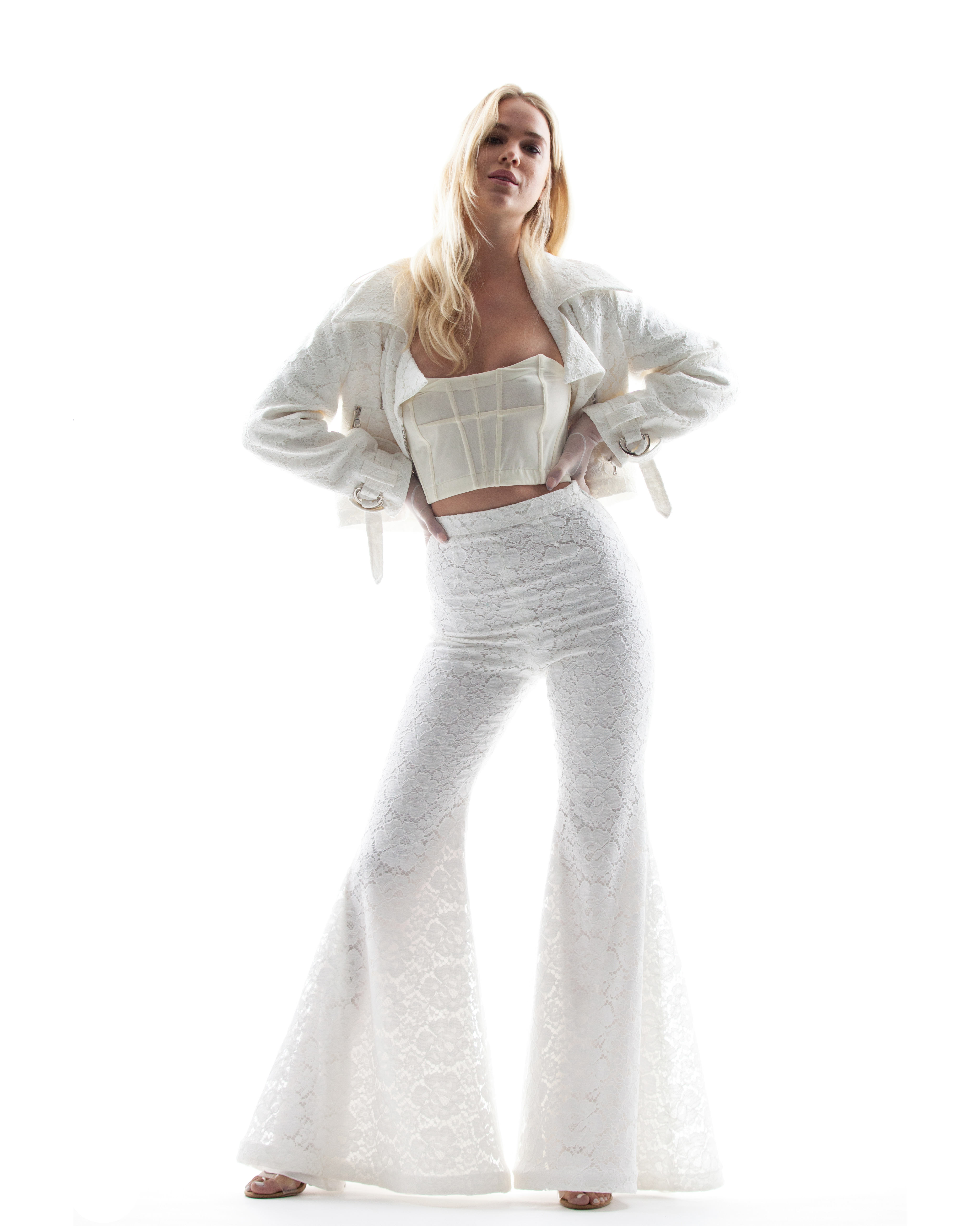 houghton spring 2018 bridal pant suit with matching jacket and crop top