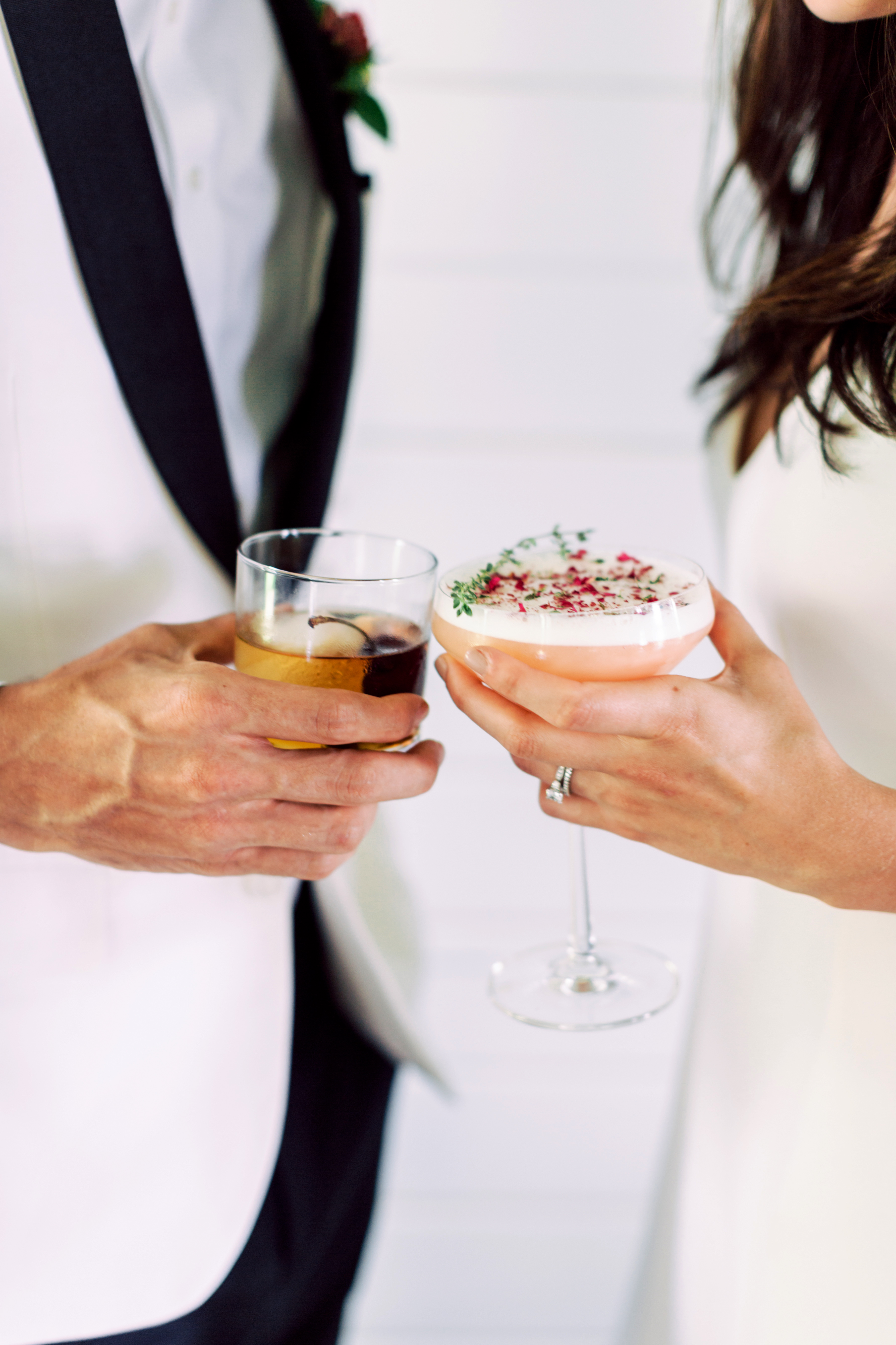 his and hers drinks cocktails diana lupu bride groom wedding martini bourbon