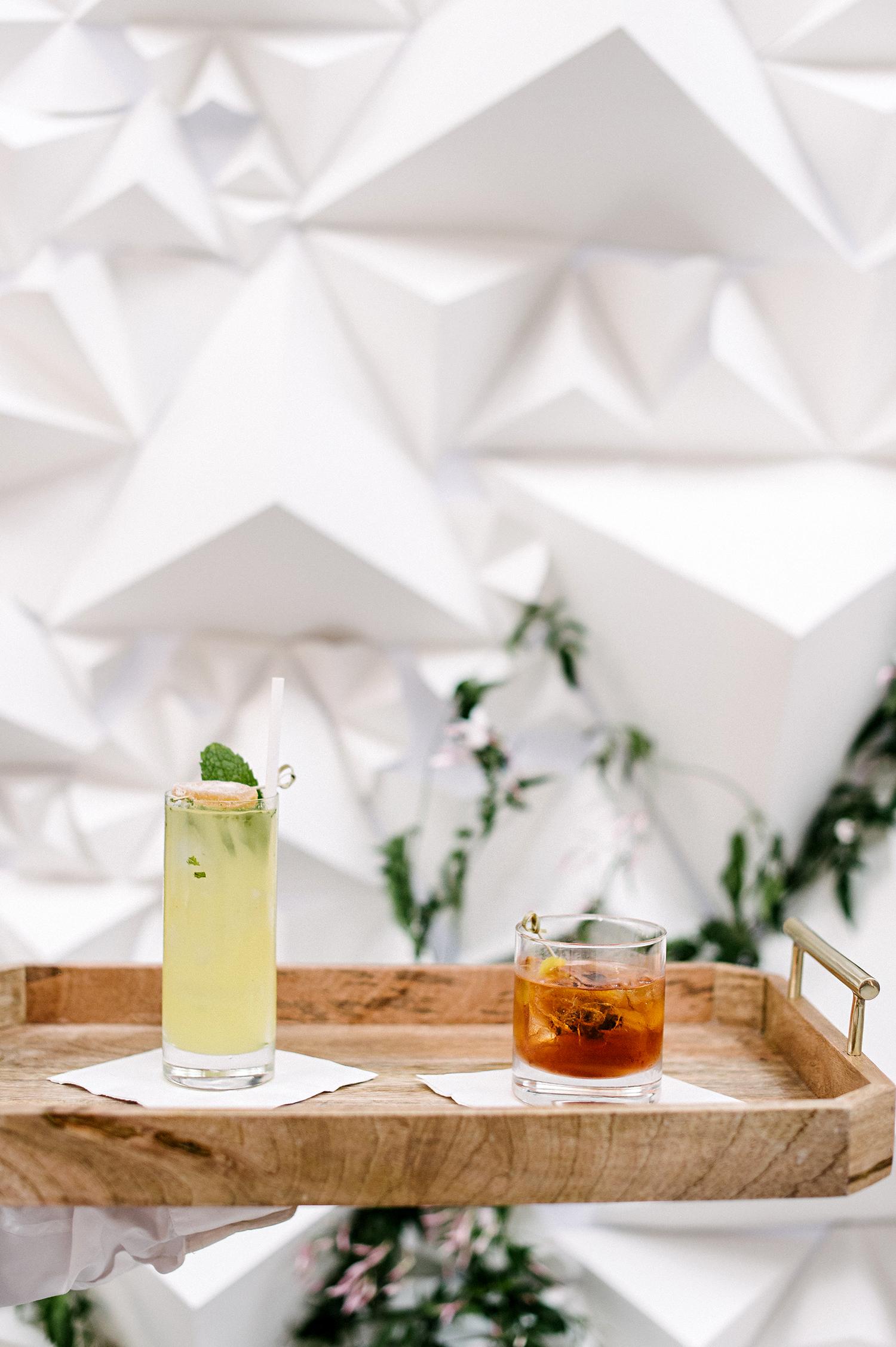 stephanie tim wedding cocktails on tray