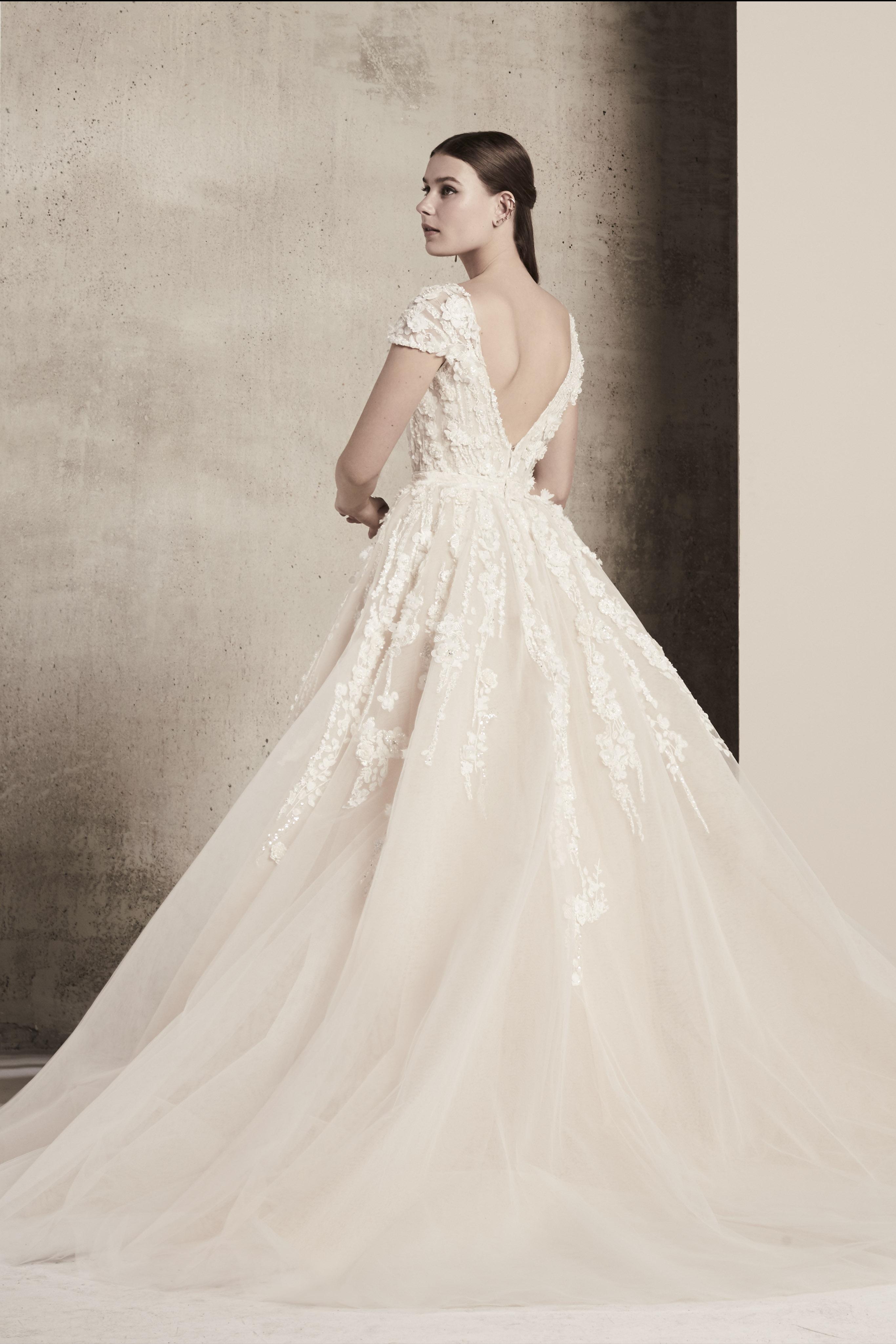 cap sleeve lace elie saab wedding dress spring 2018