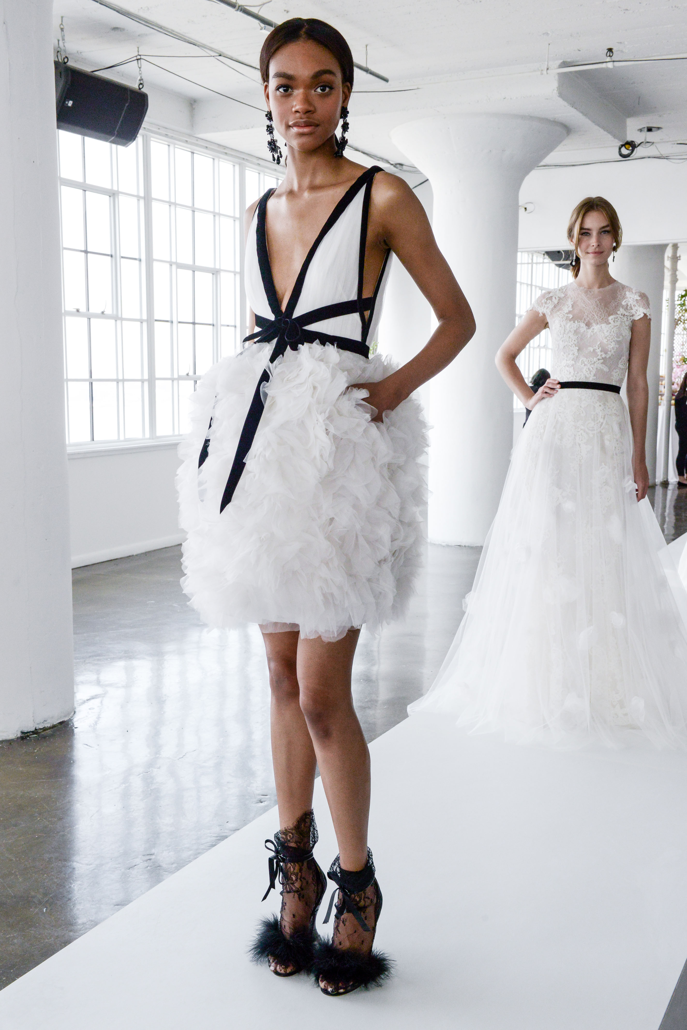 marchesa spring 2018 cocktail-length wedding dress with ruffled skirt