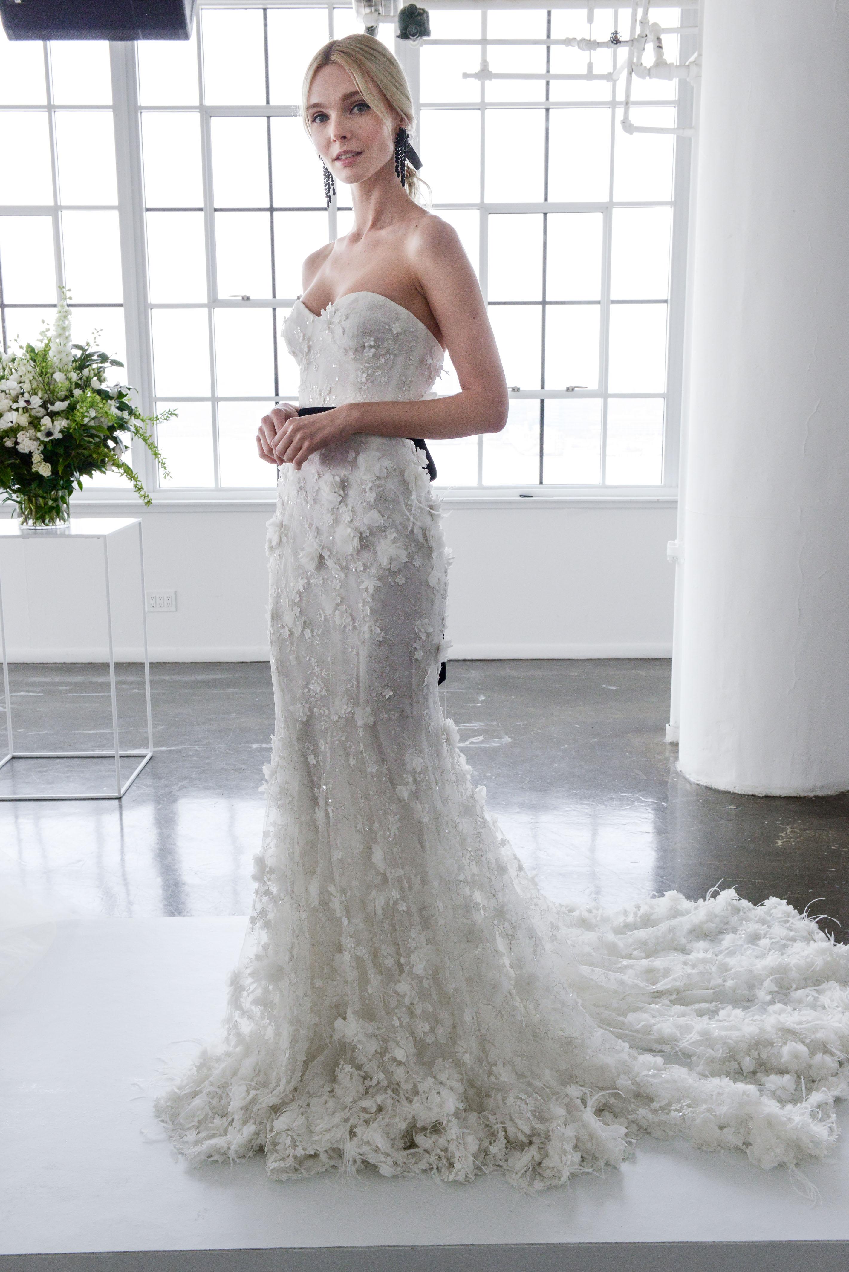marchesa spring 2018 strapless wedding dress with three-dimensional details