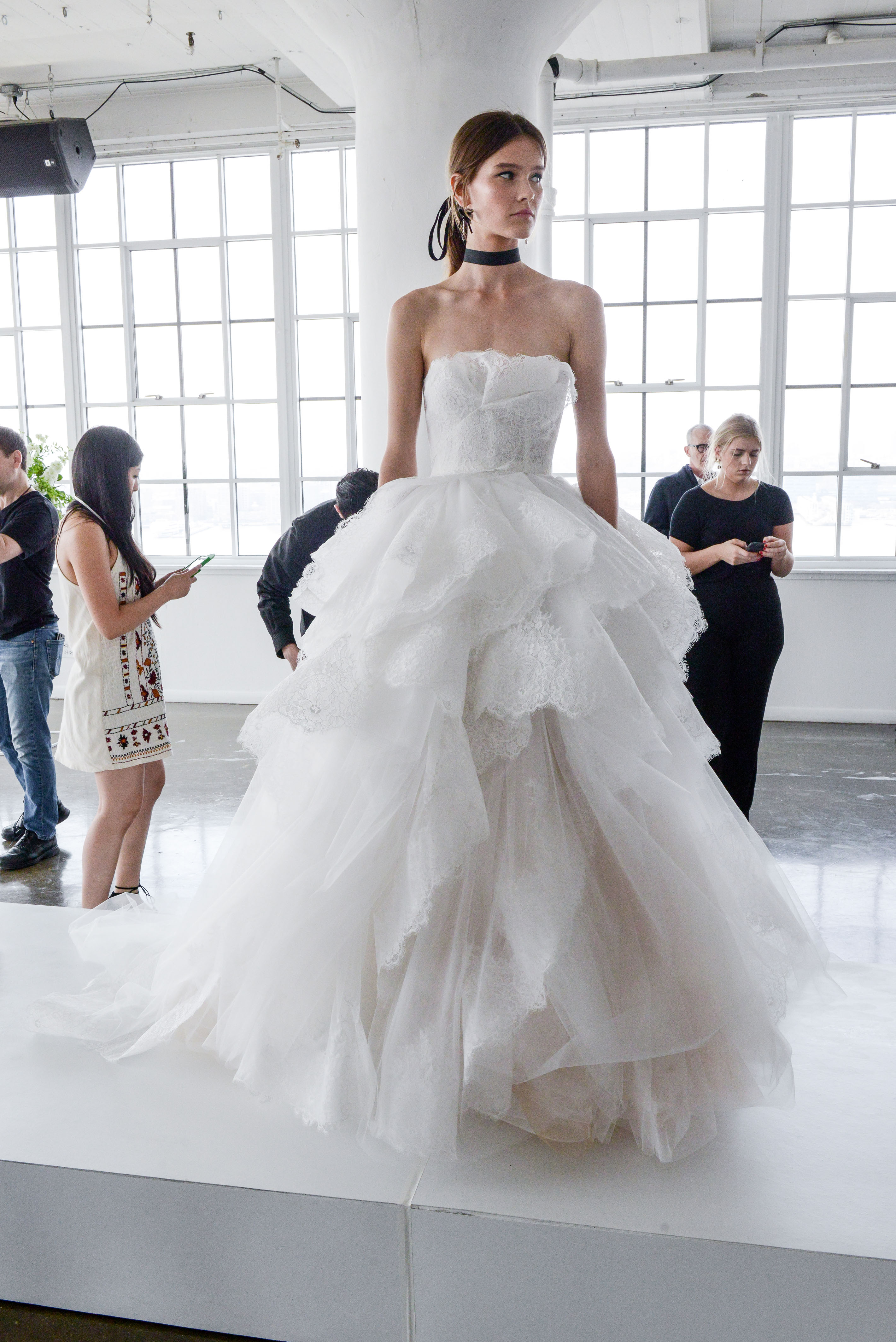 marchesa spring 2018 strapless ball gown with layered skirt