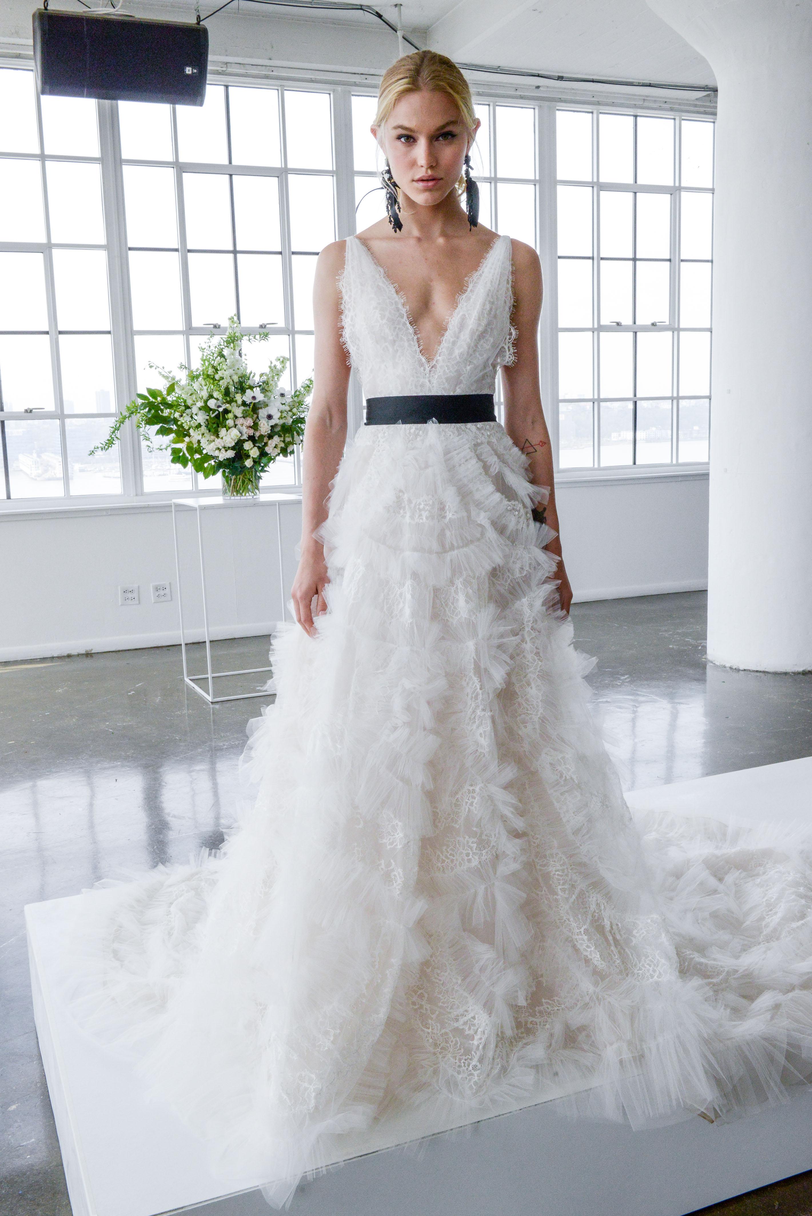 marchesa spring 2018 a-line wedding dress with ruffled skirt