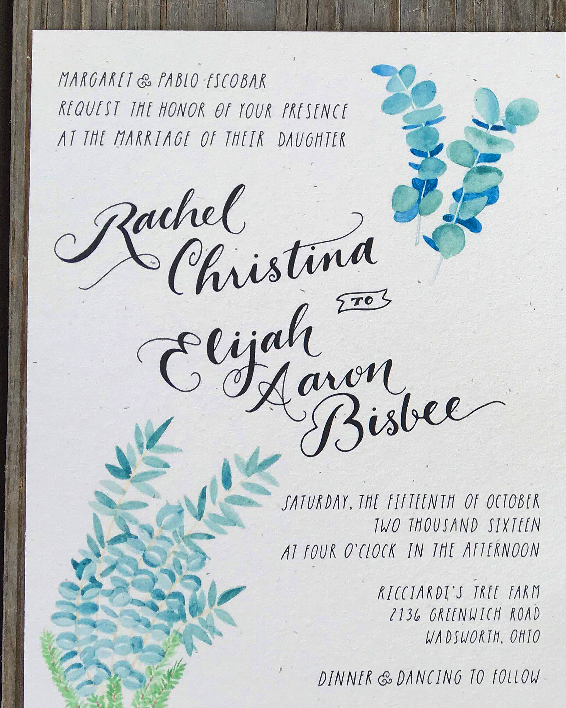 rachel elijah wedding invite