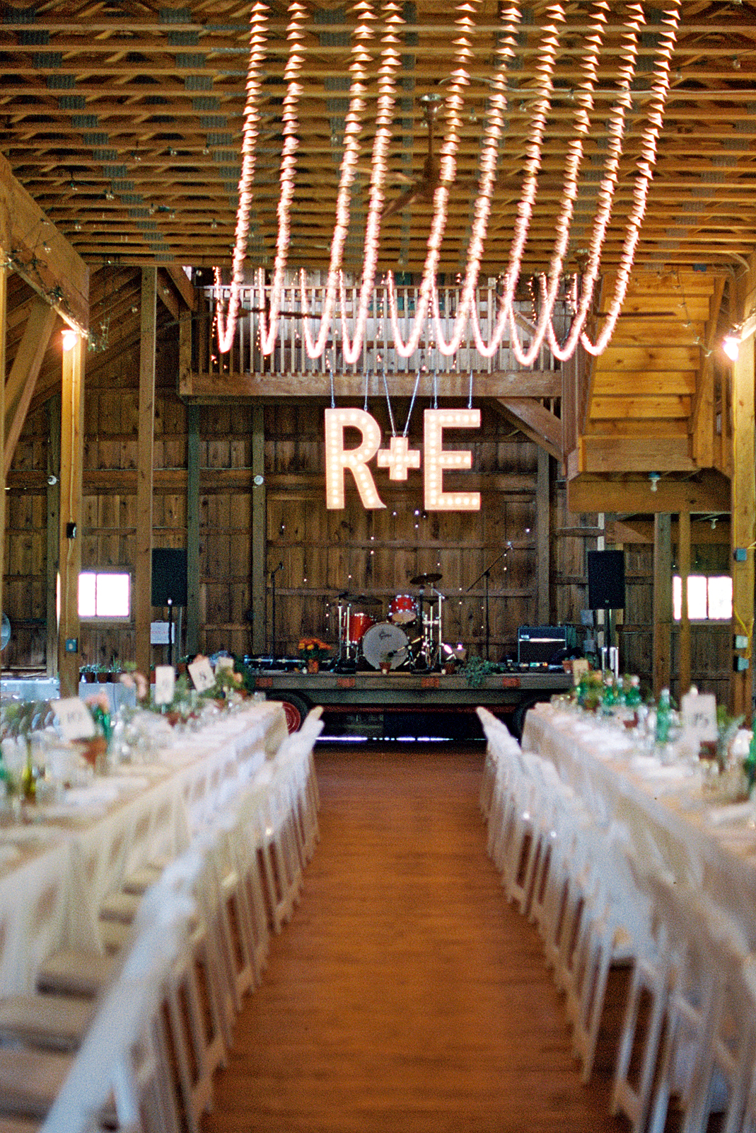 rachel elijah wedding barn bandstand and initials
