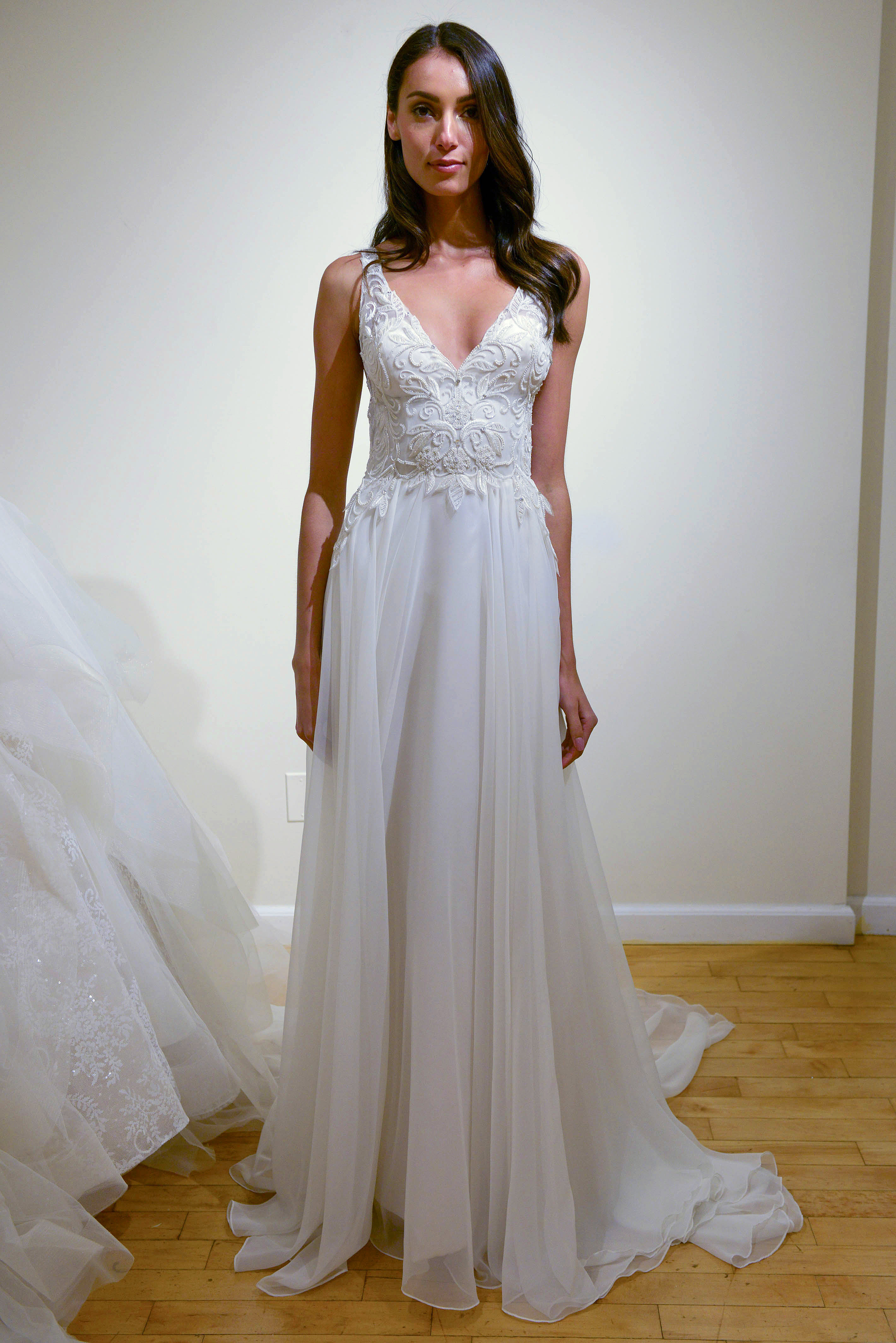 eve of milady v-neck sheath wedding dress spring 2018
