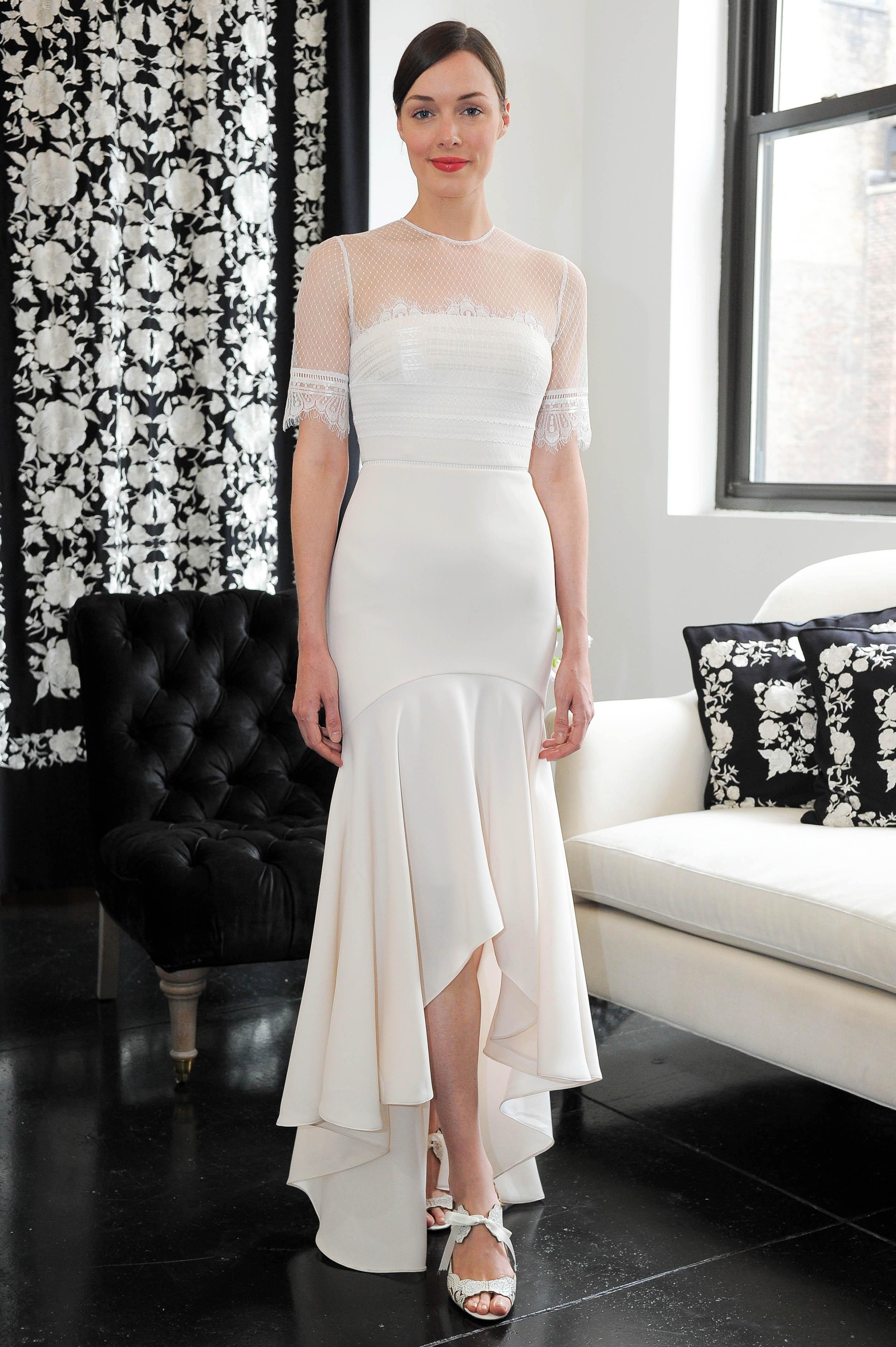 three-quarter length sleeves trumpet catherine deane wedding dress spring 2018