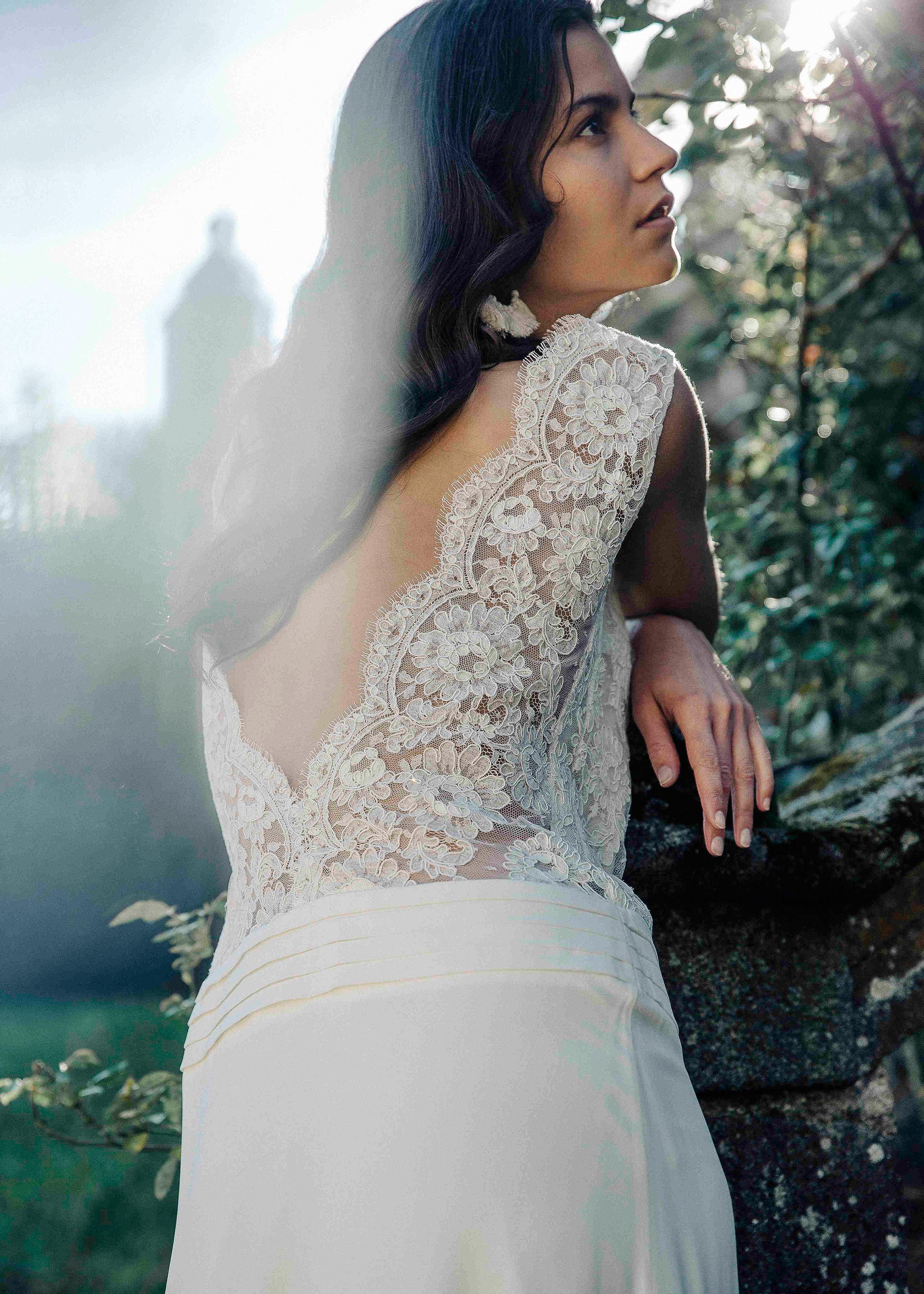 Laure de Sagazan Wedding Dress with lace back