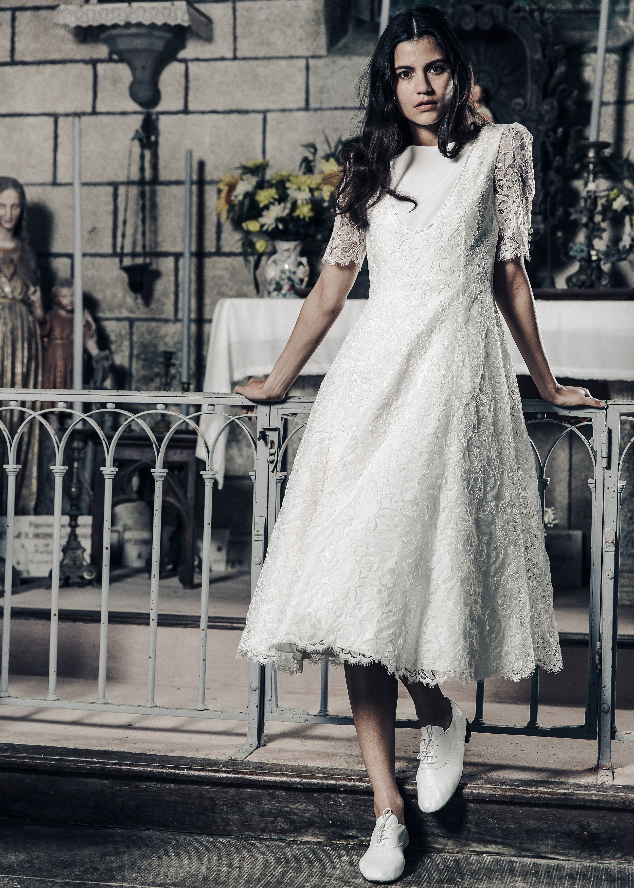 Laure de Sagazan tea length lace Wedding Dress Spring 2018