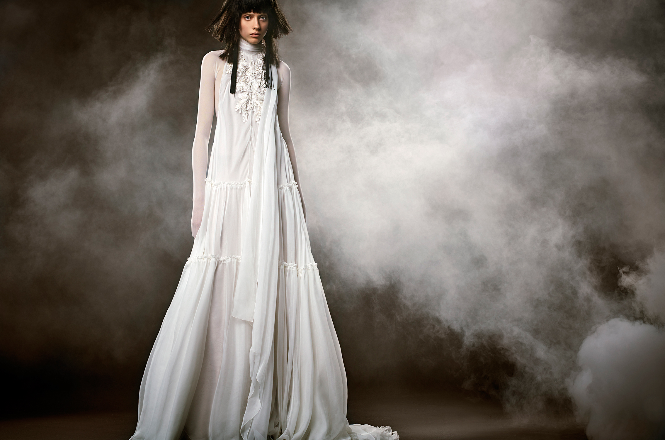 vera wang wedding dress spring 2018 high neck sheer long sleeves