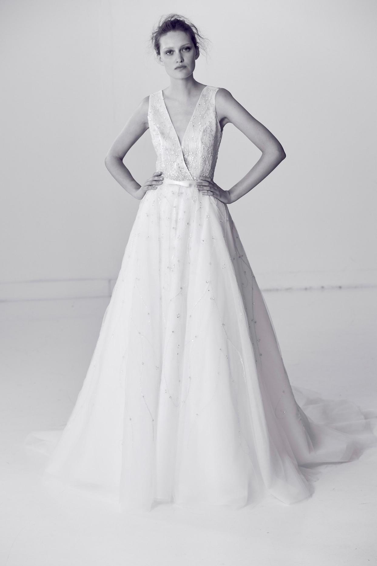 Alyne by Rita Vineries Sparkly Wedding Dress with V-Neck Spring 2018