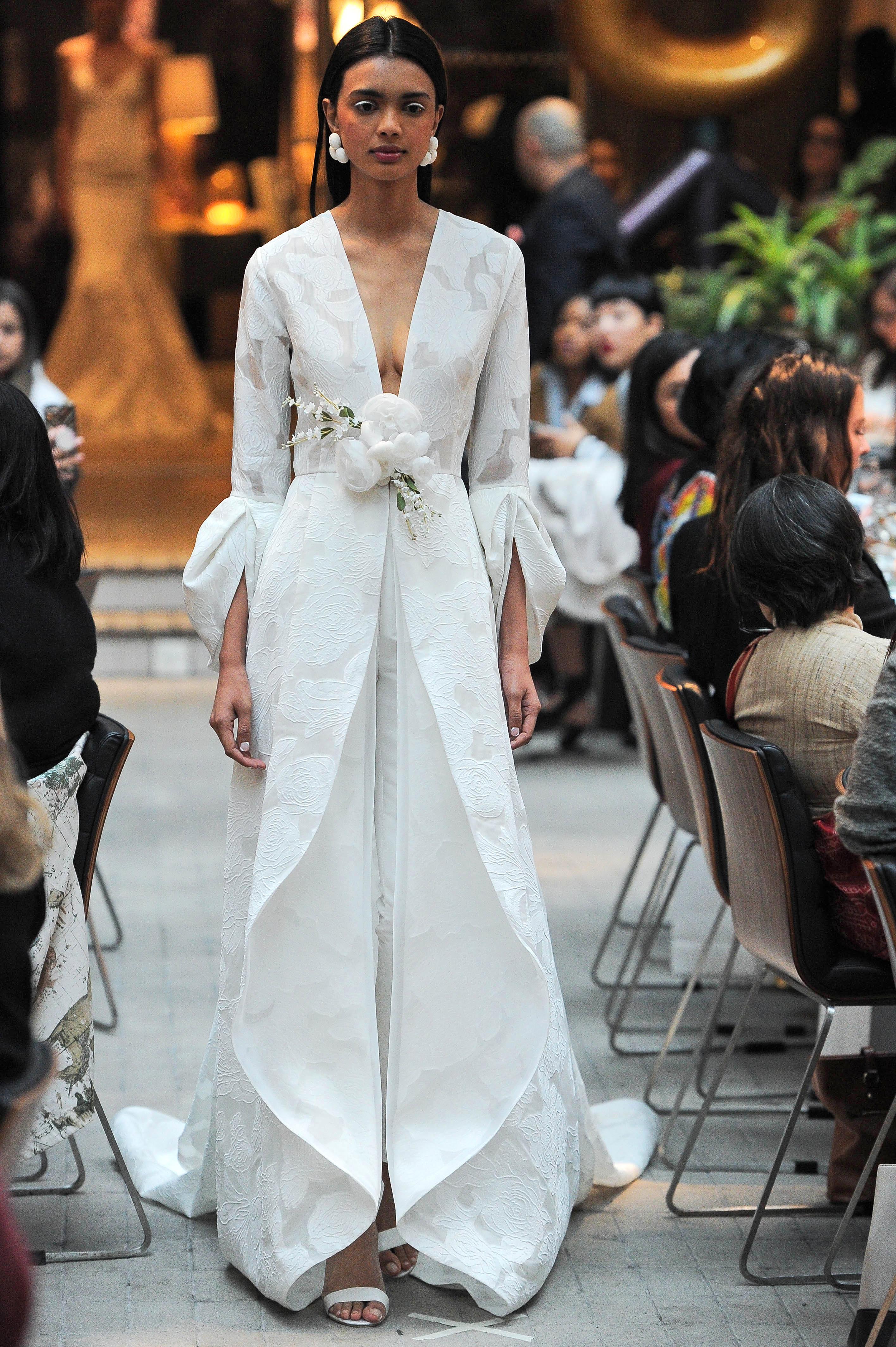 sachin and babi long sleeves v-neck wedding dress spring 2018