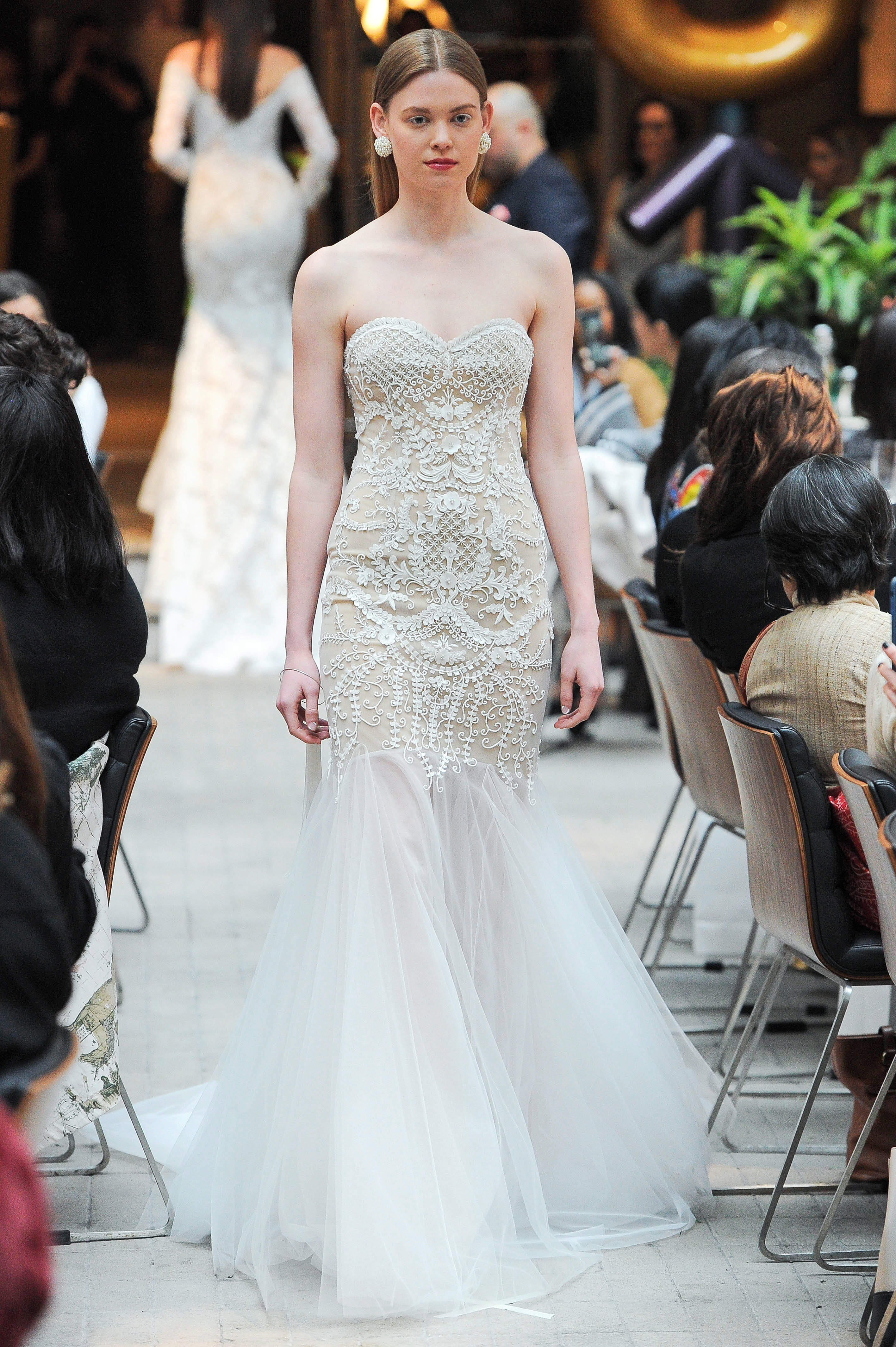 sachin and babi strapless lace mermaid wedding dress spring 2018