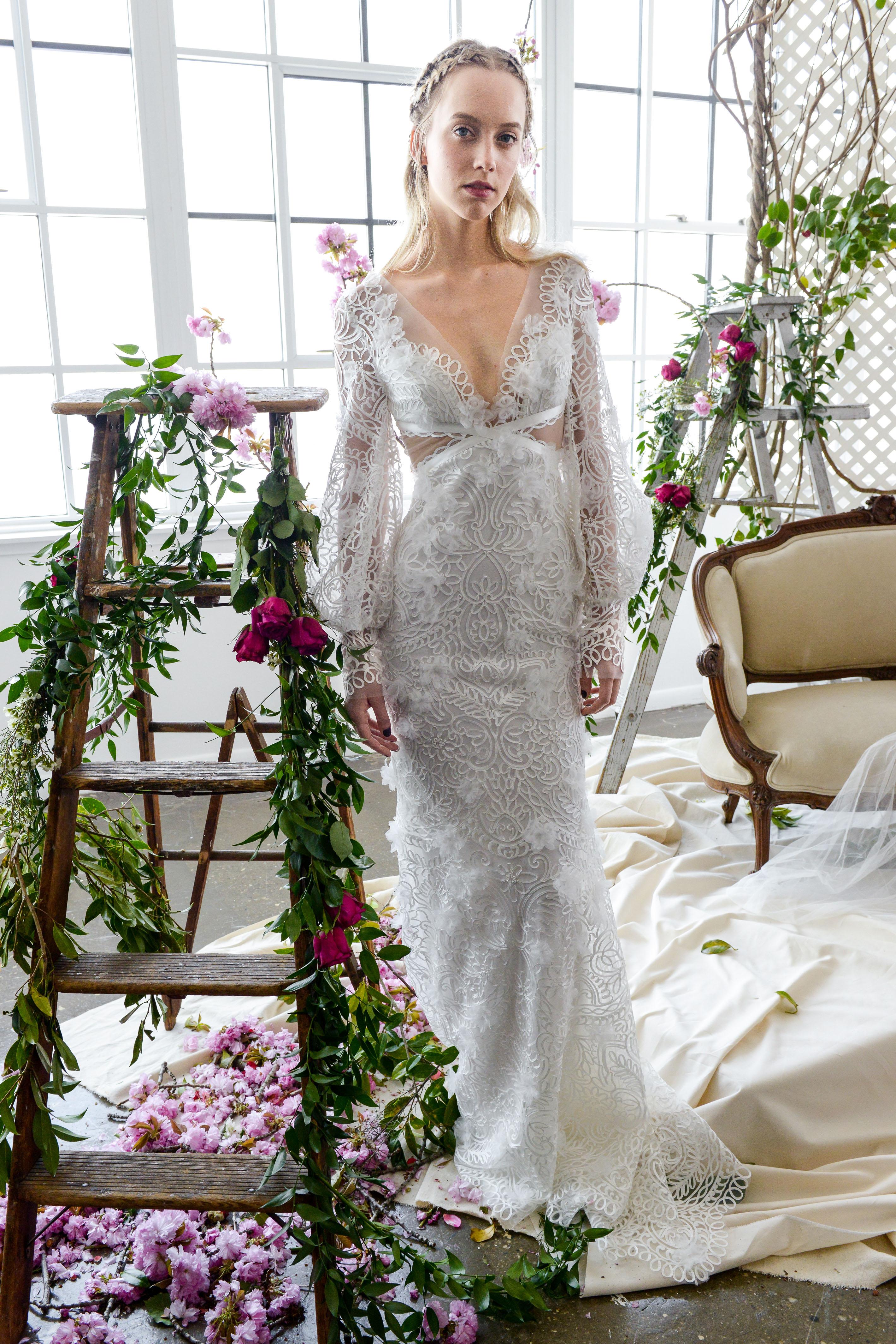 long sleeves v-neck marchesa wedding dress spring 2018