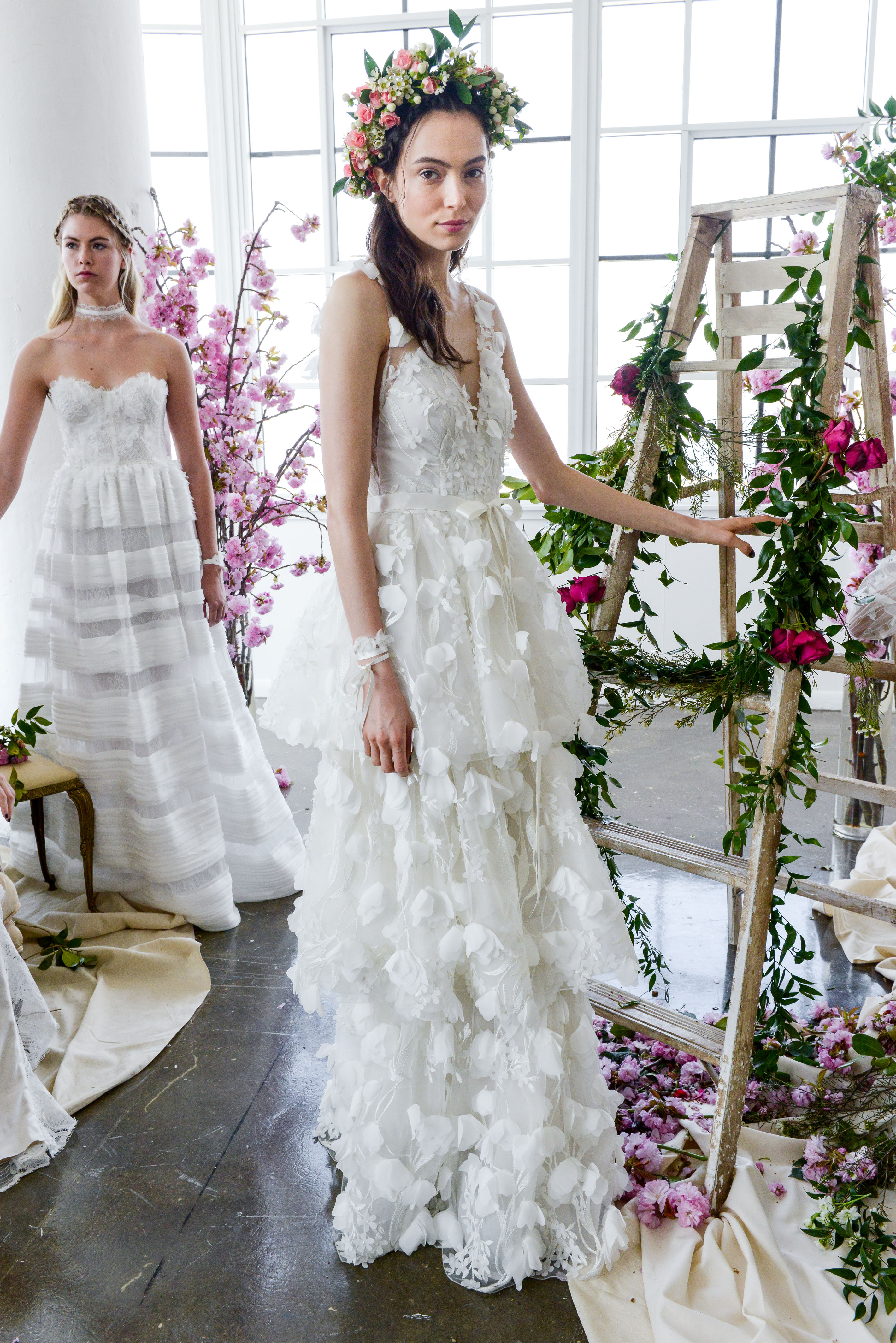 v-neck lace marchesa wedding dress spring 2018