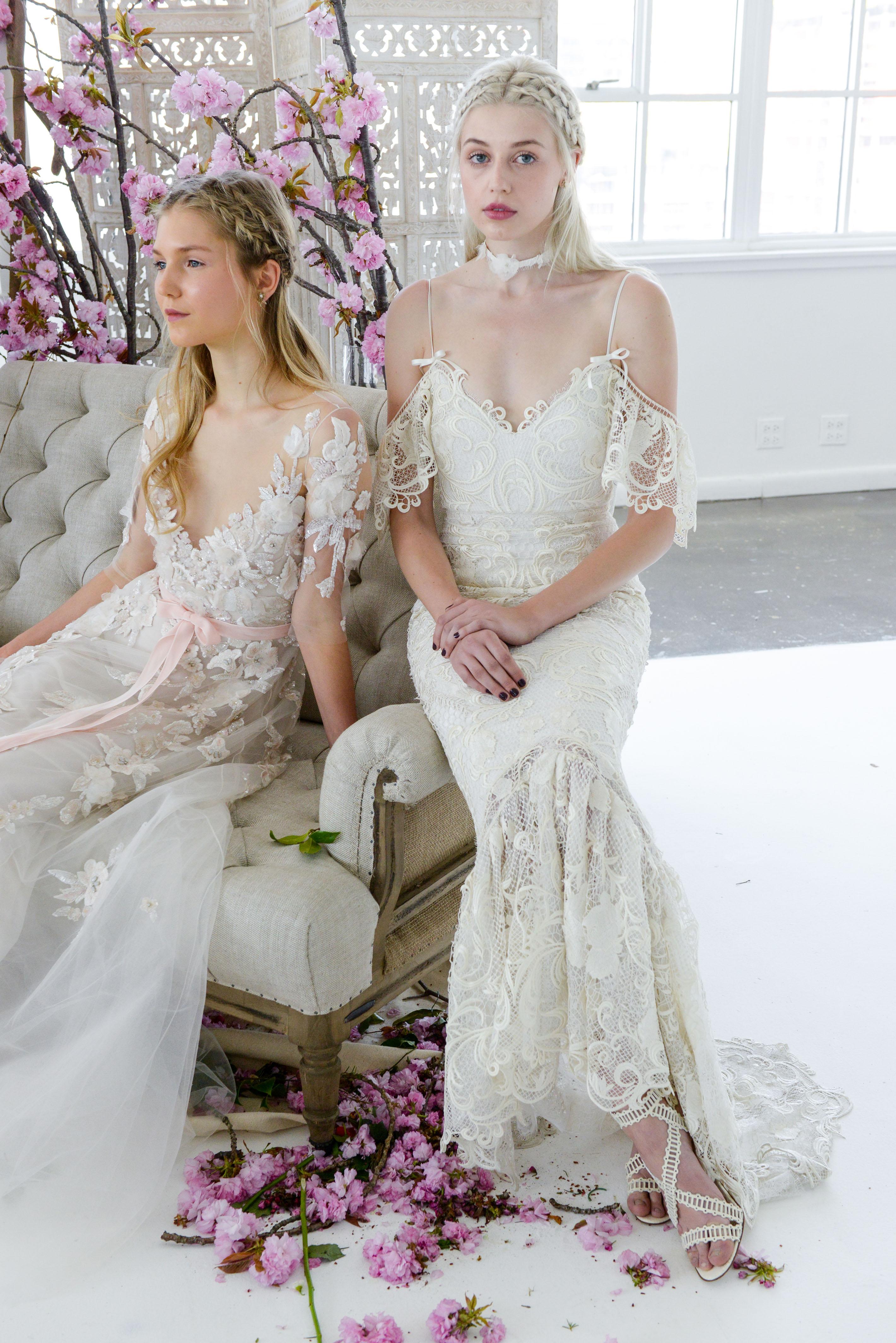 spaghetti strap mermaid marchesa wedding dress spring 2018