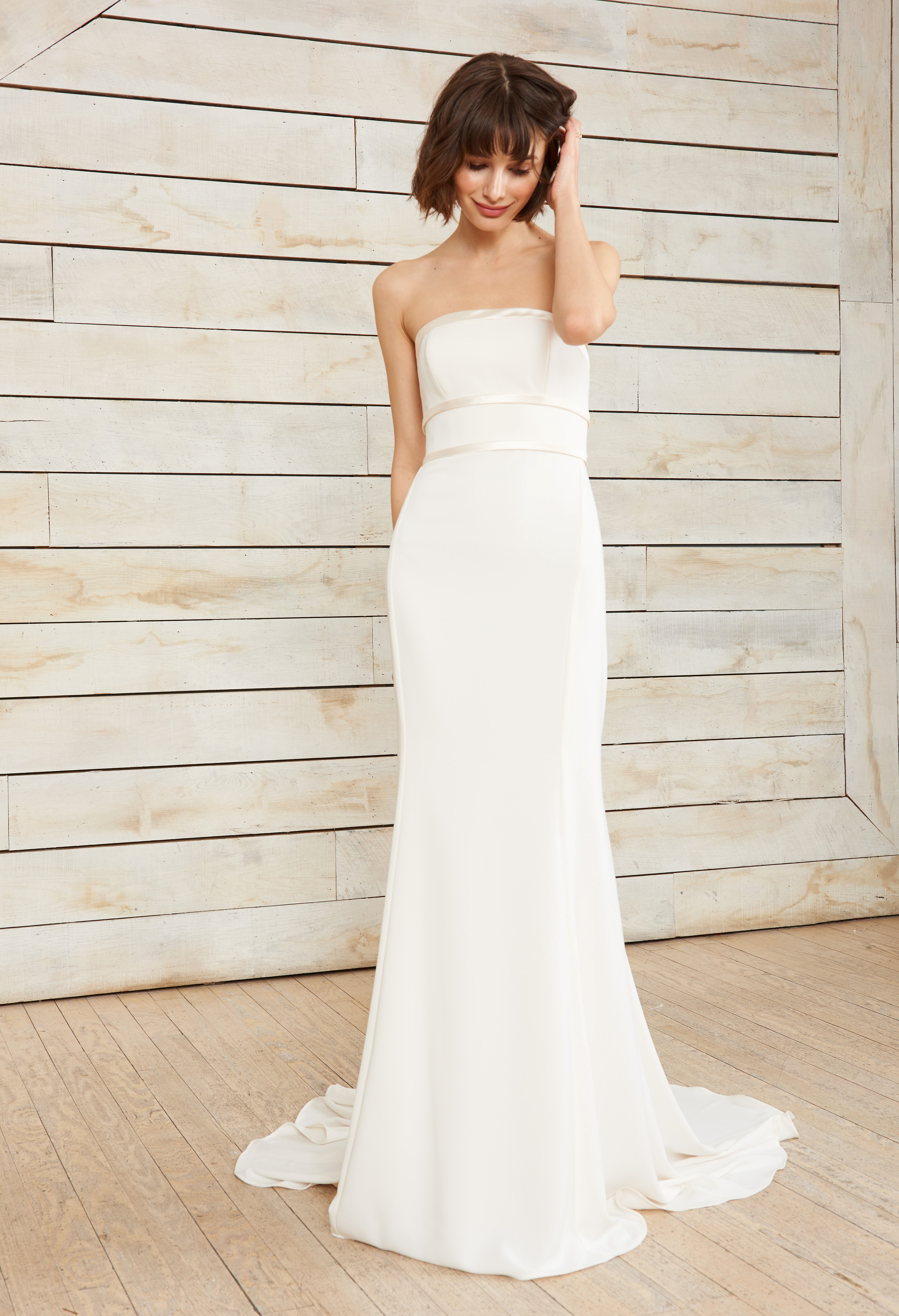 nouvelle amsale strapless ribbon wedding dress spring 2018
