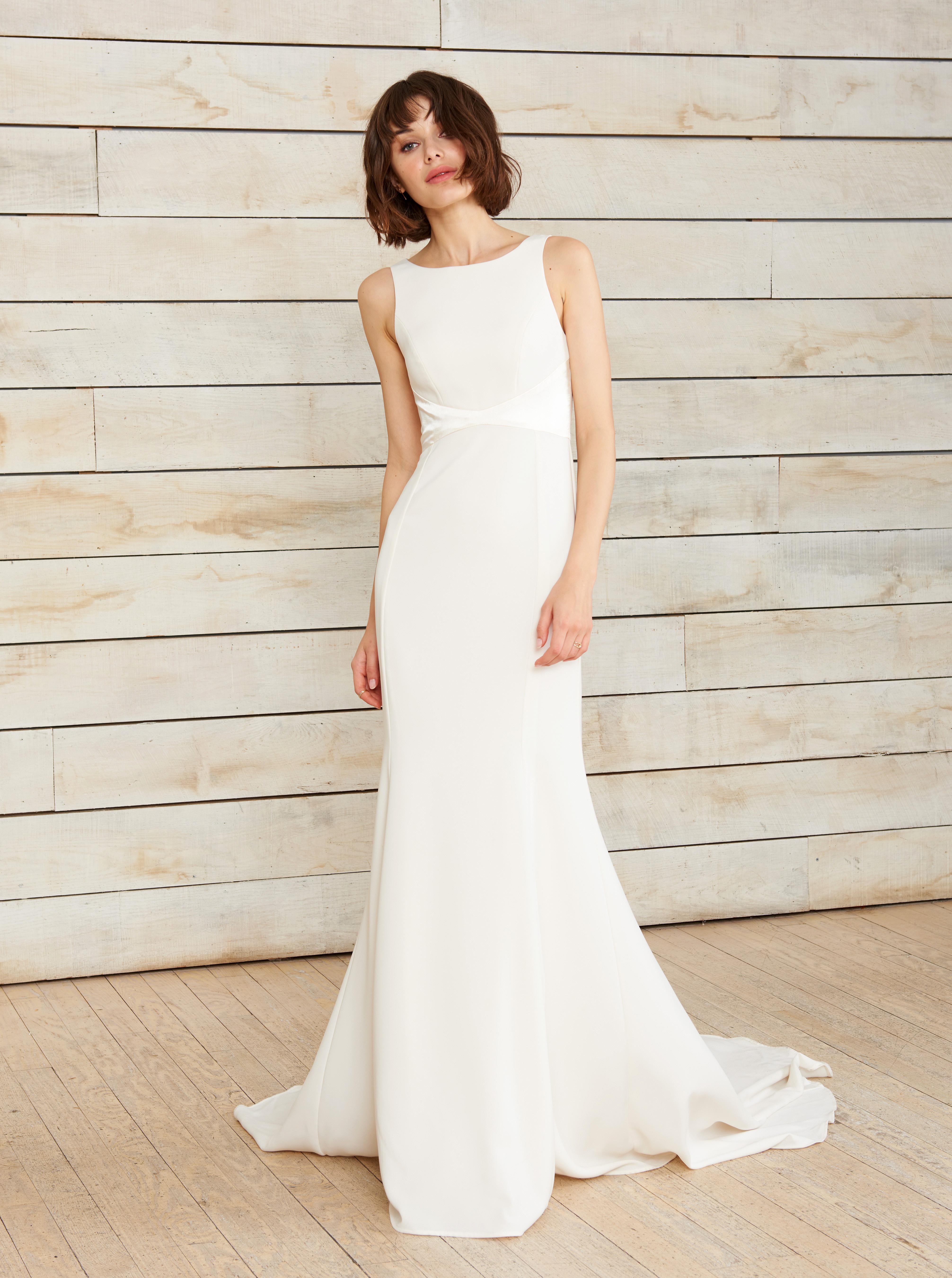nouvelle amsale high neck sleeveless trumpet wedding dress spring 2018