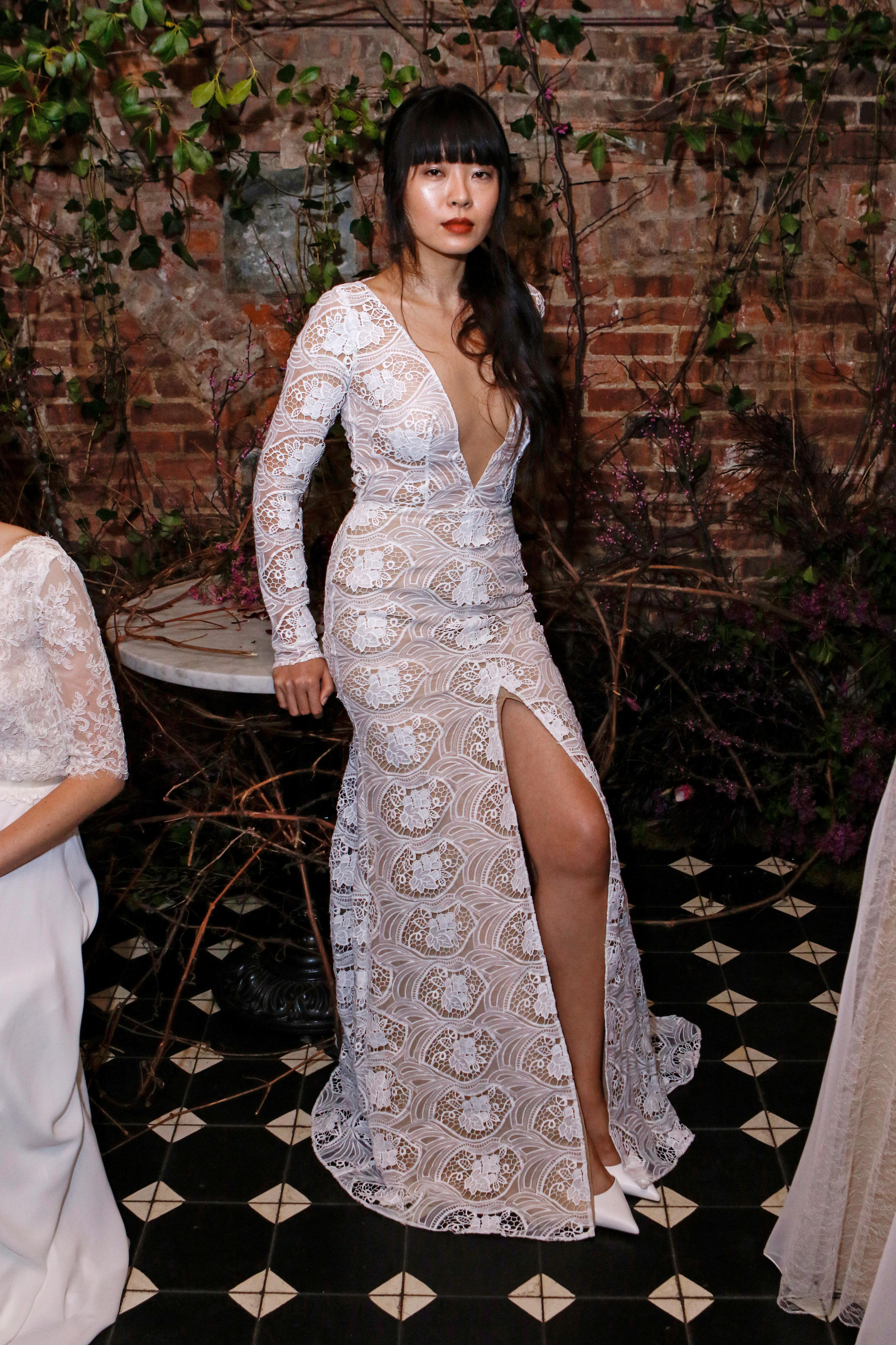 long sleeves lace sarah seven wedding dress spring 2018