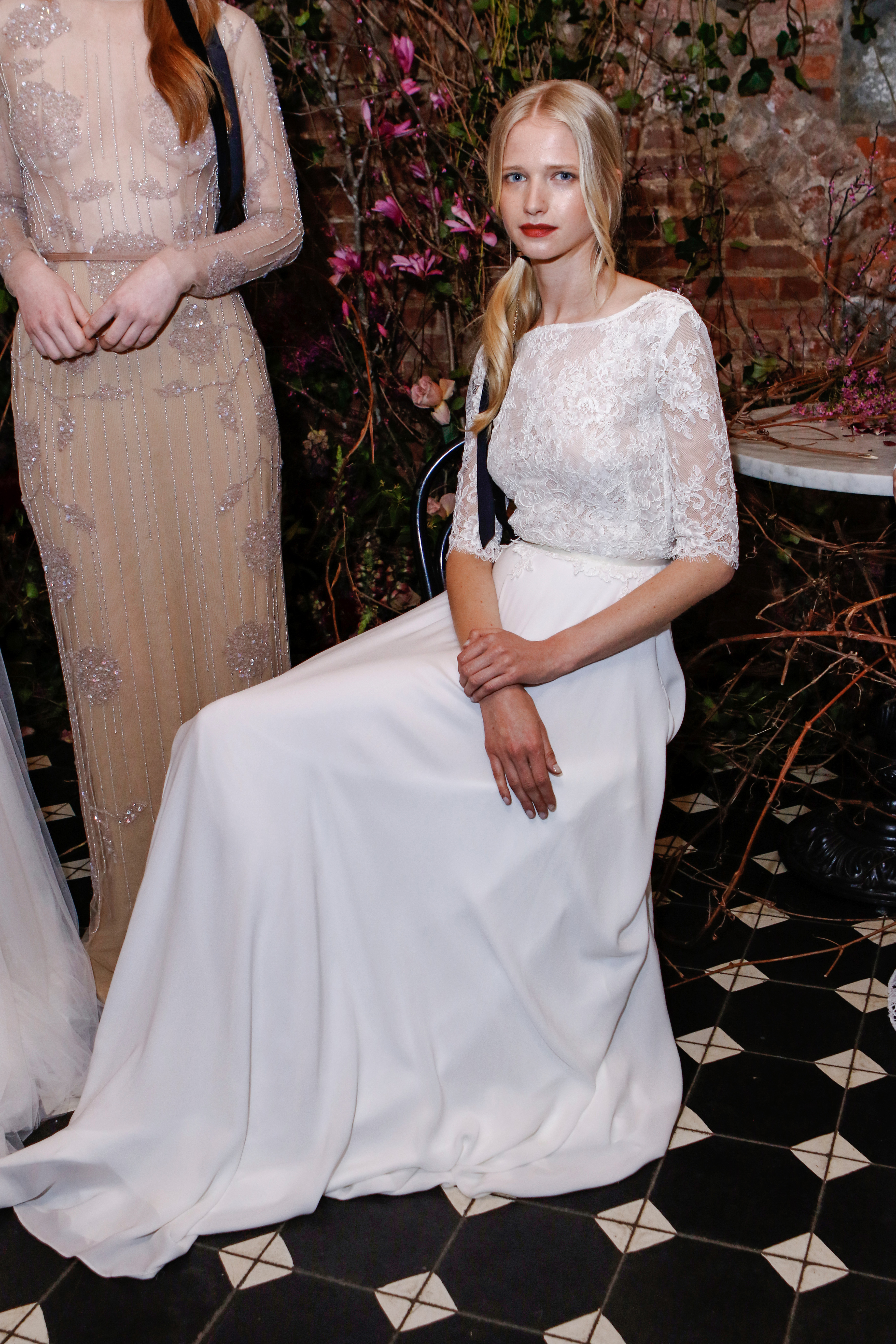 three- quarter length sleeves lace sarah seven wedding dress spring 2018