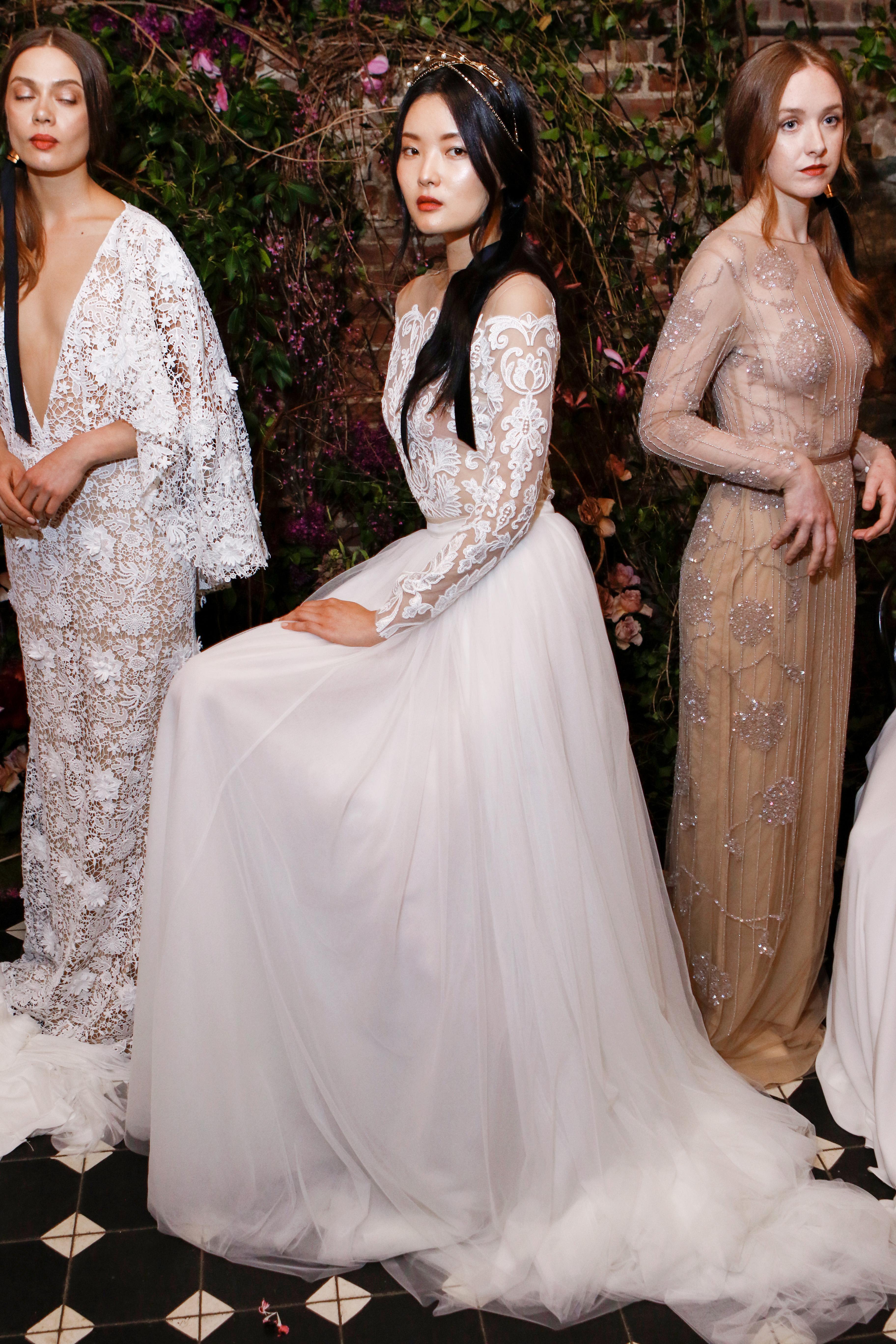 off-the-shoulder long sleeves sarah seven wedding dress spring 2018