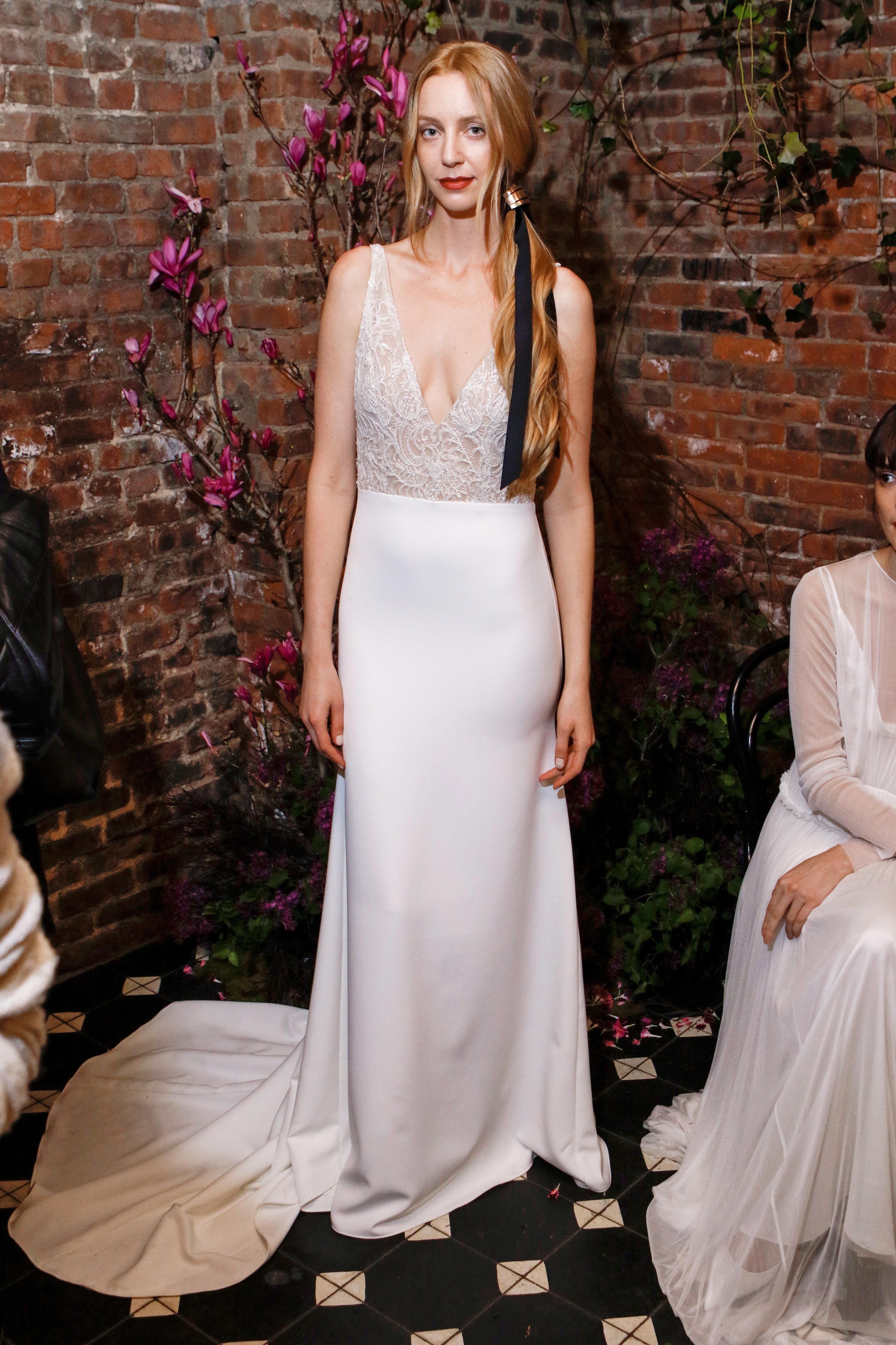 lace v-neck sarah seven wedding dress spring 2018