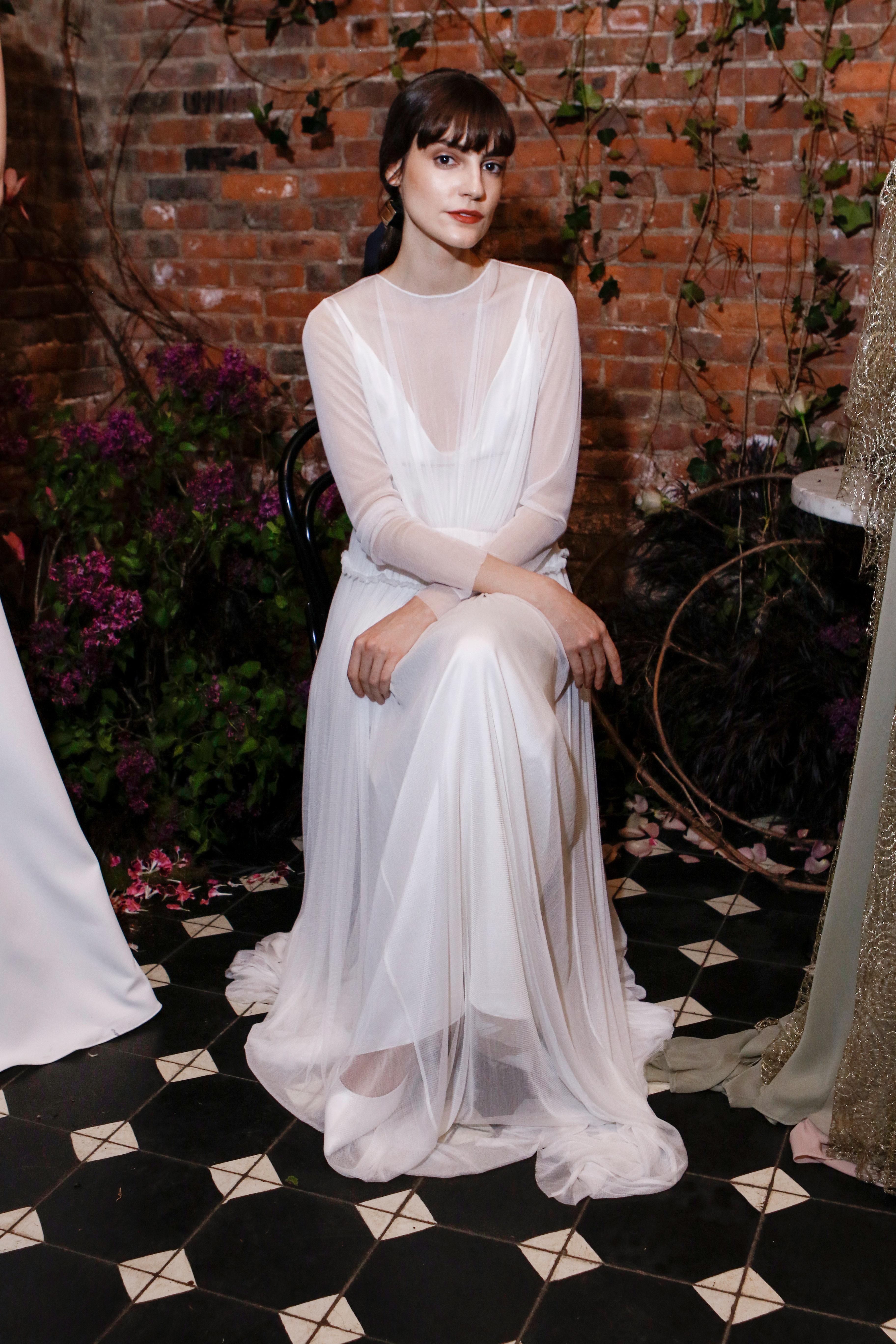 high neck long sleeves sarah seven wedding dress spring 2018