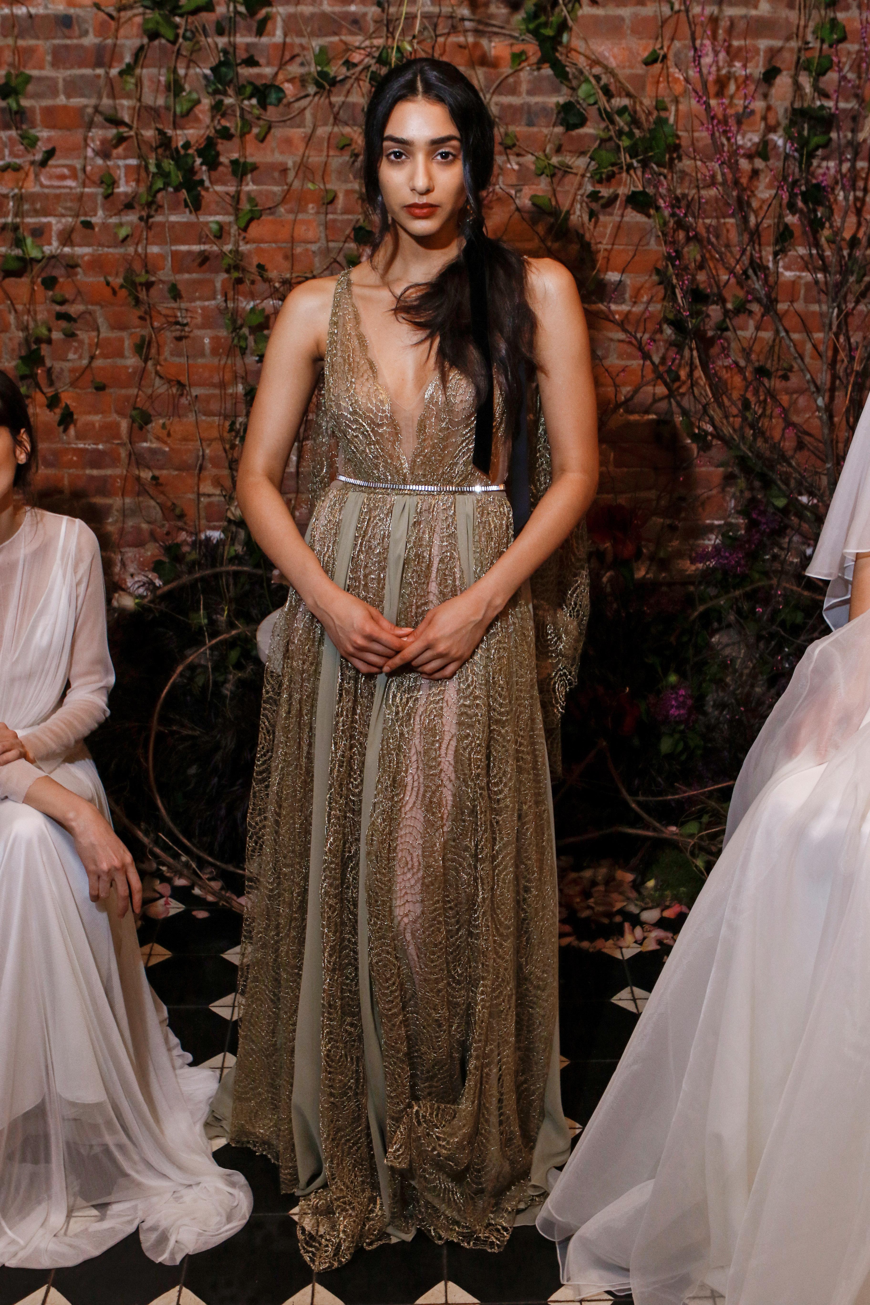 v-neck sheath sarah seven wedding dress spring 2018