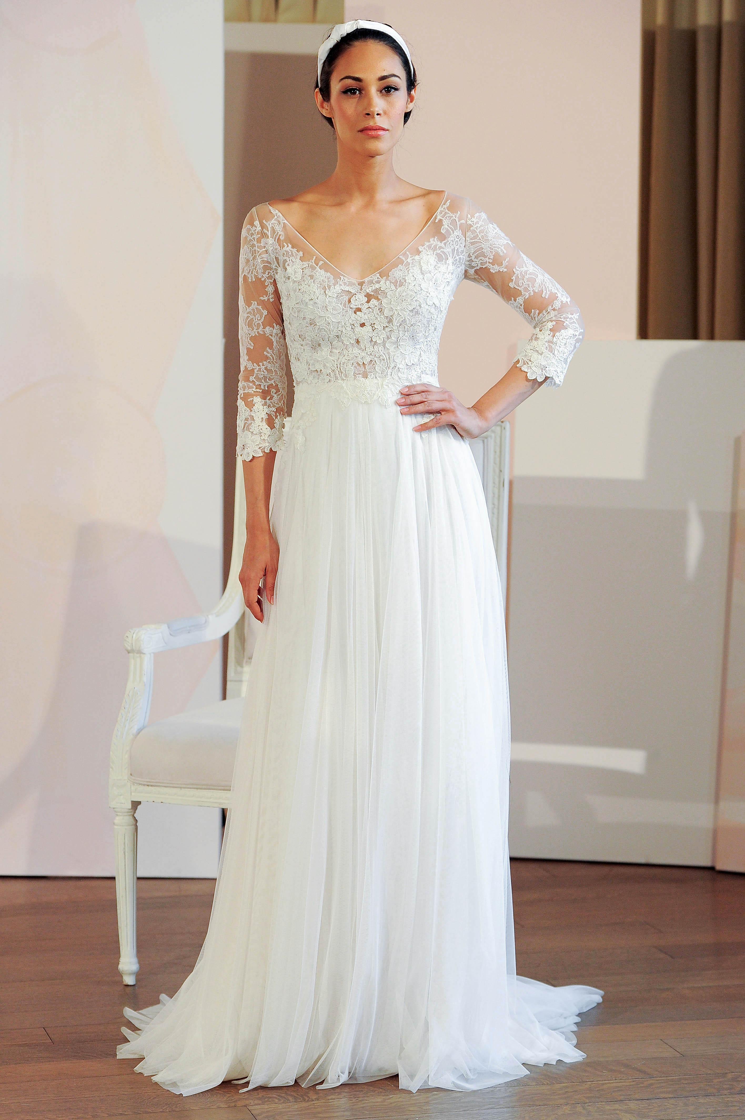 anne barge lace three-quarter length sleeves wedding dress spring 2018